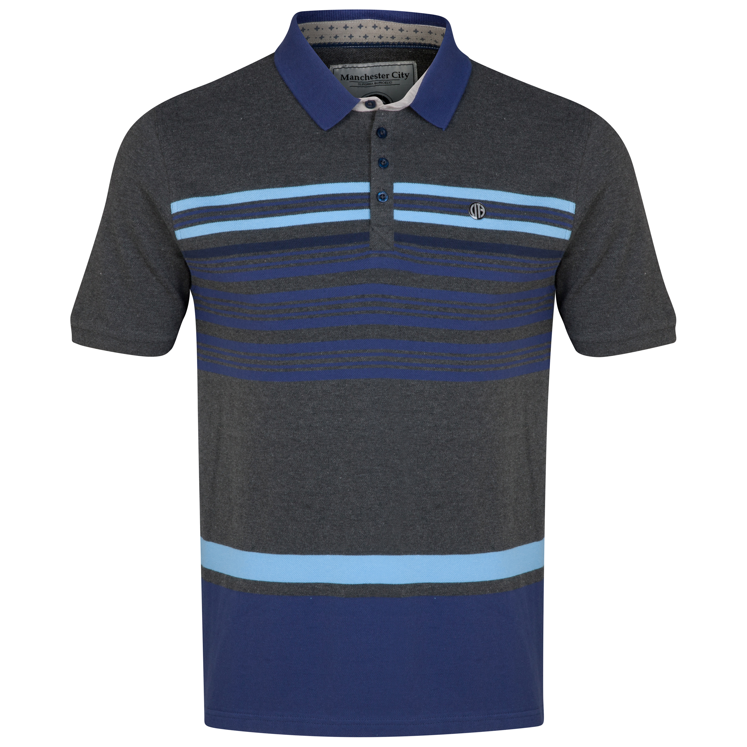 Manchester City Polo Shirt - Charcoal/Navy/Sky - Mens