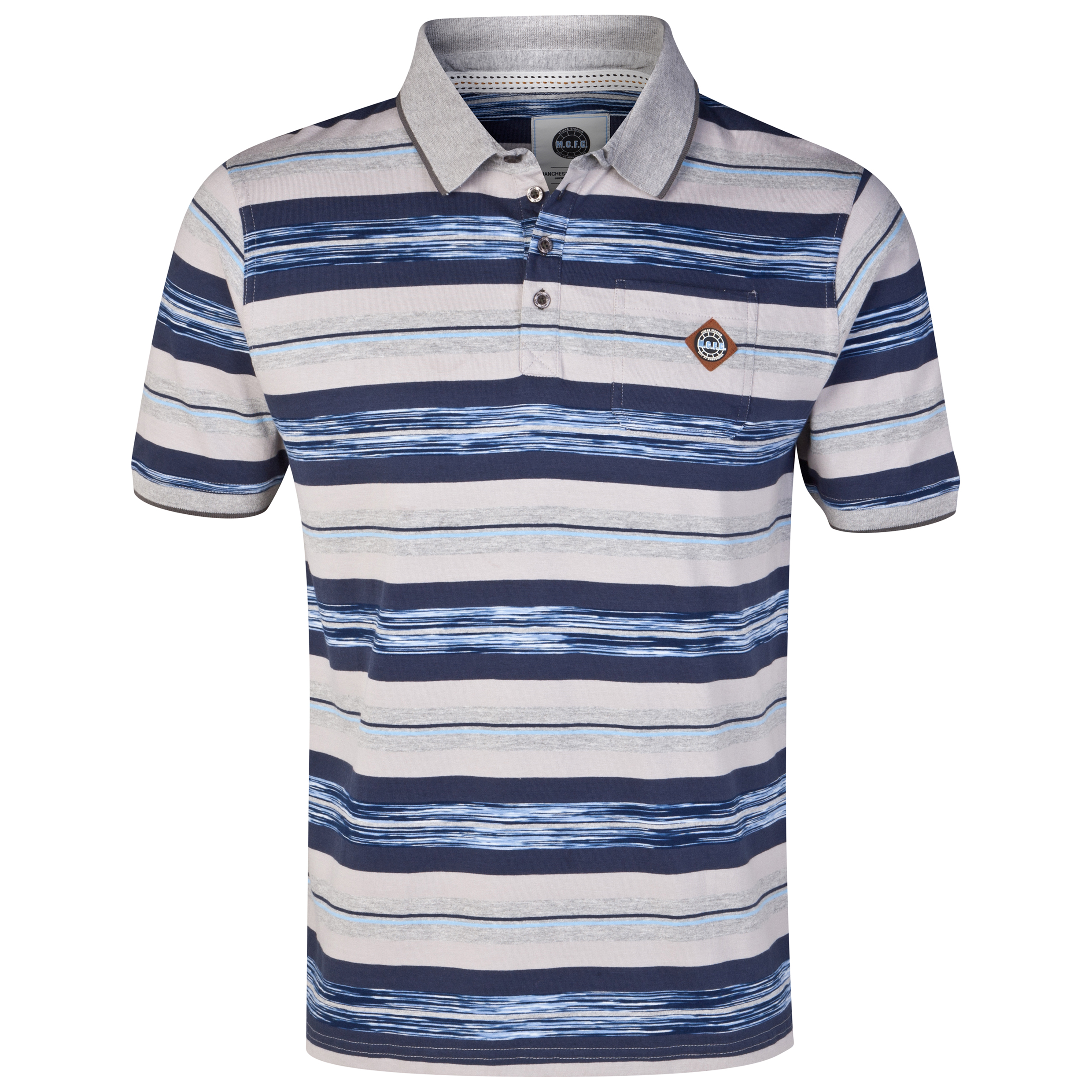 Manchester City Stripe Polo Shirt - Grey/Navy/Blue - Mens
