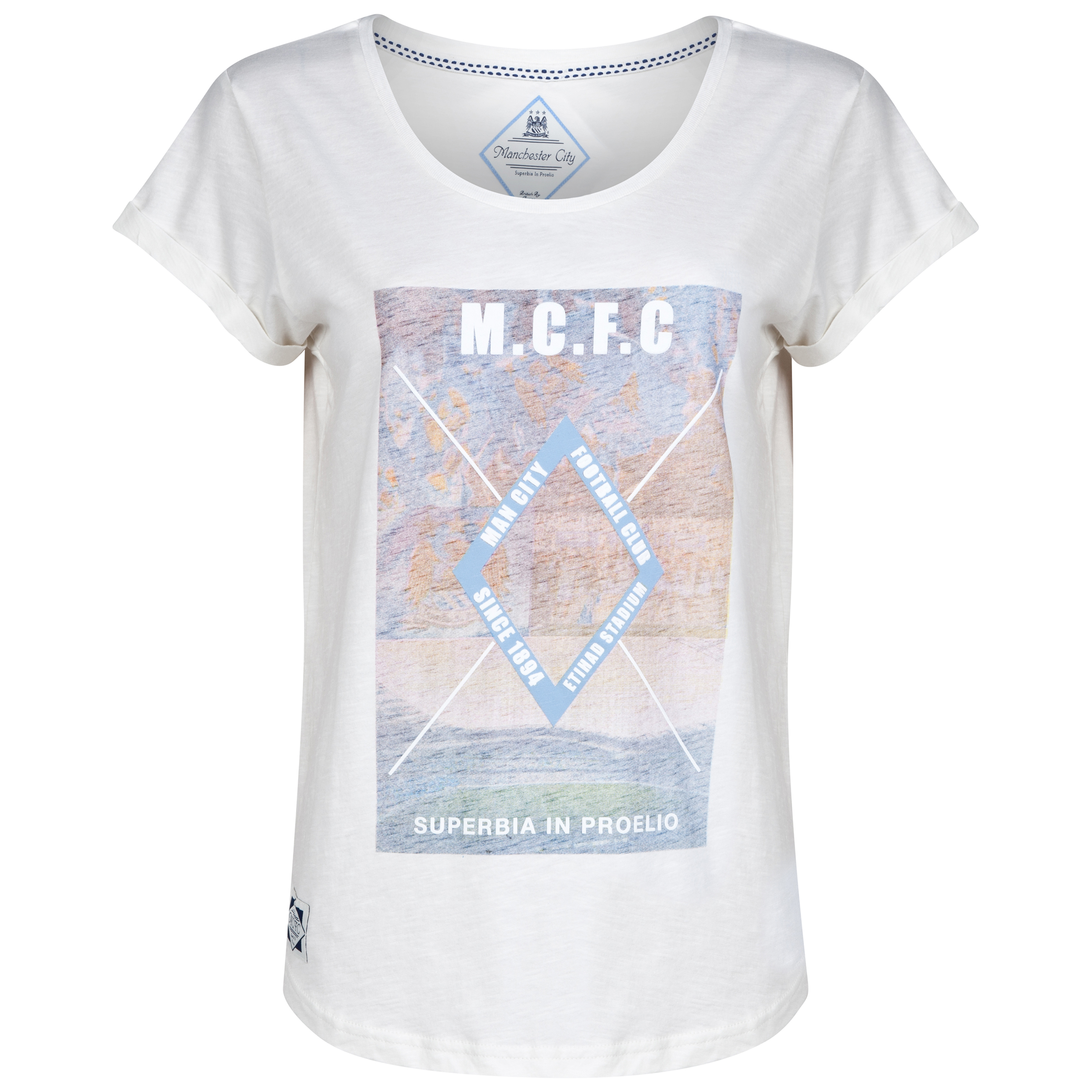 Manchester City T-Shirt - Vintage White - Womens