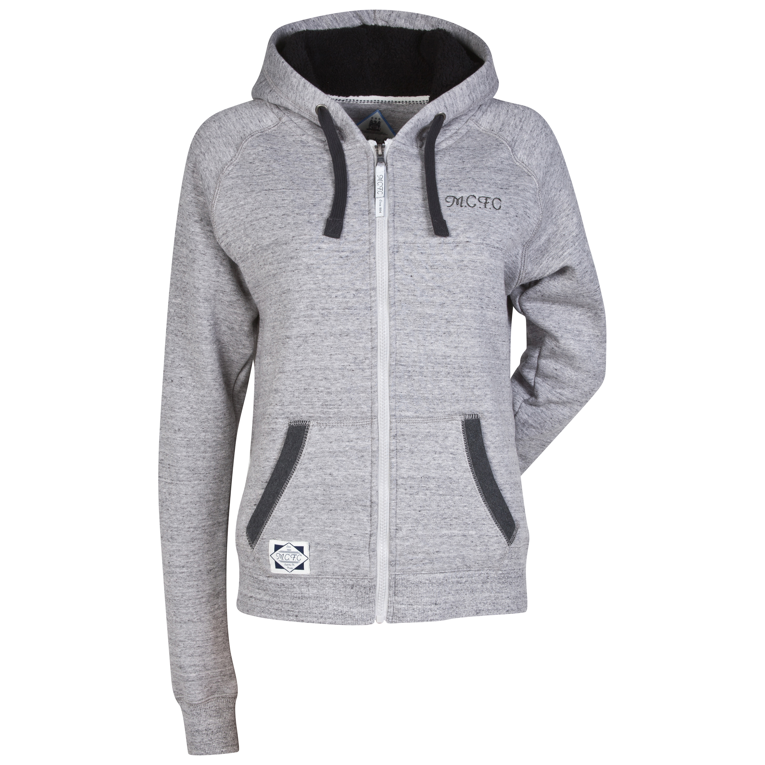 Manchester City Sherpa Hoodie - Grey Marl - Womens