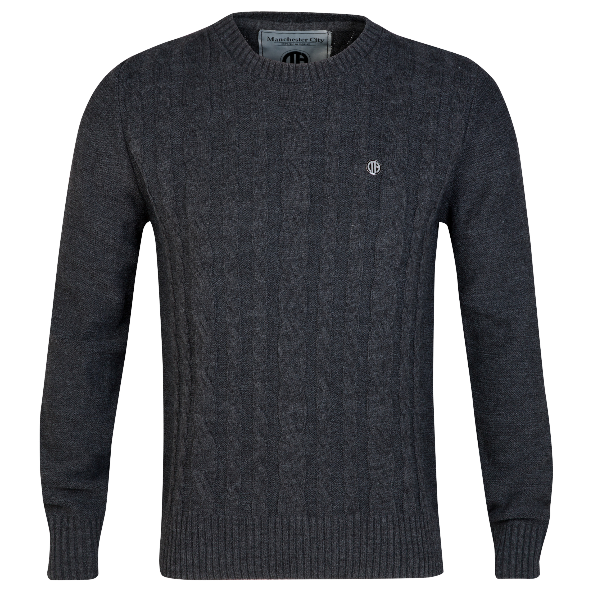 Manchester City Cable Knit Jumper - Grey - Mens