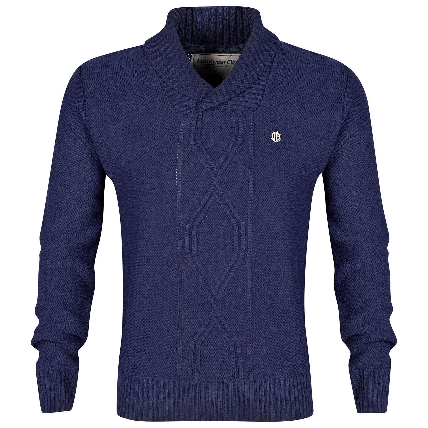 Manchester City Button Neck Jumper - Navy - Mens