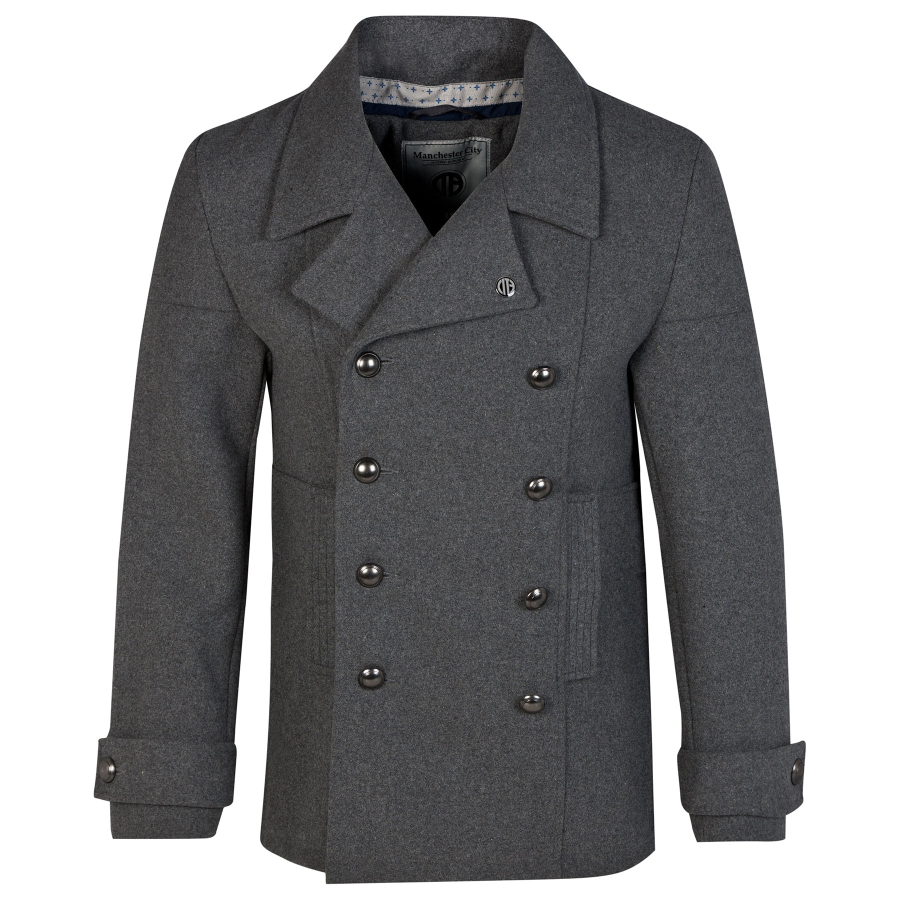 Manchester City Pea Coat - Charcoal - Mens