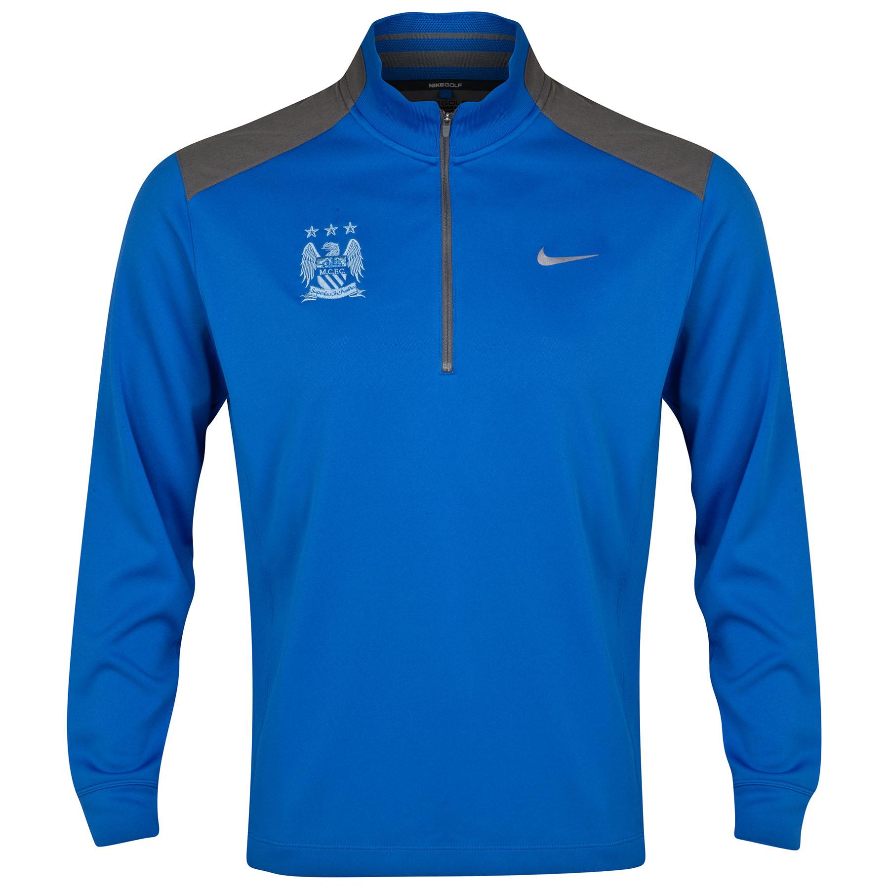Manchester City Dri-Fit Performance Half Zip Top Royal Blue