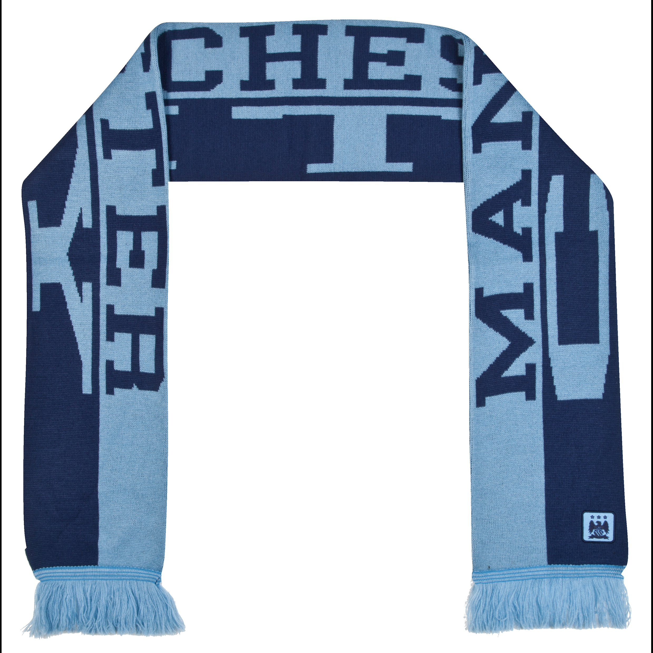 Manchester City Text Scarf - Sky/Navy - Adult