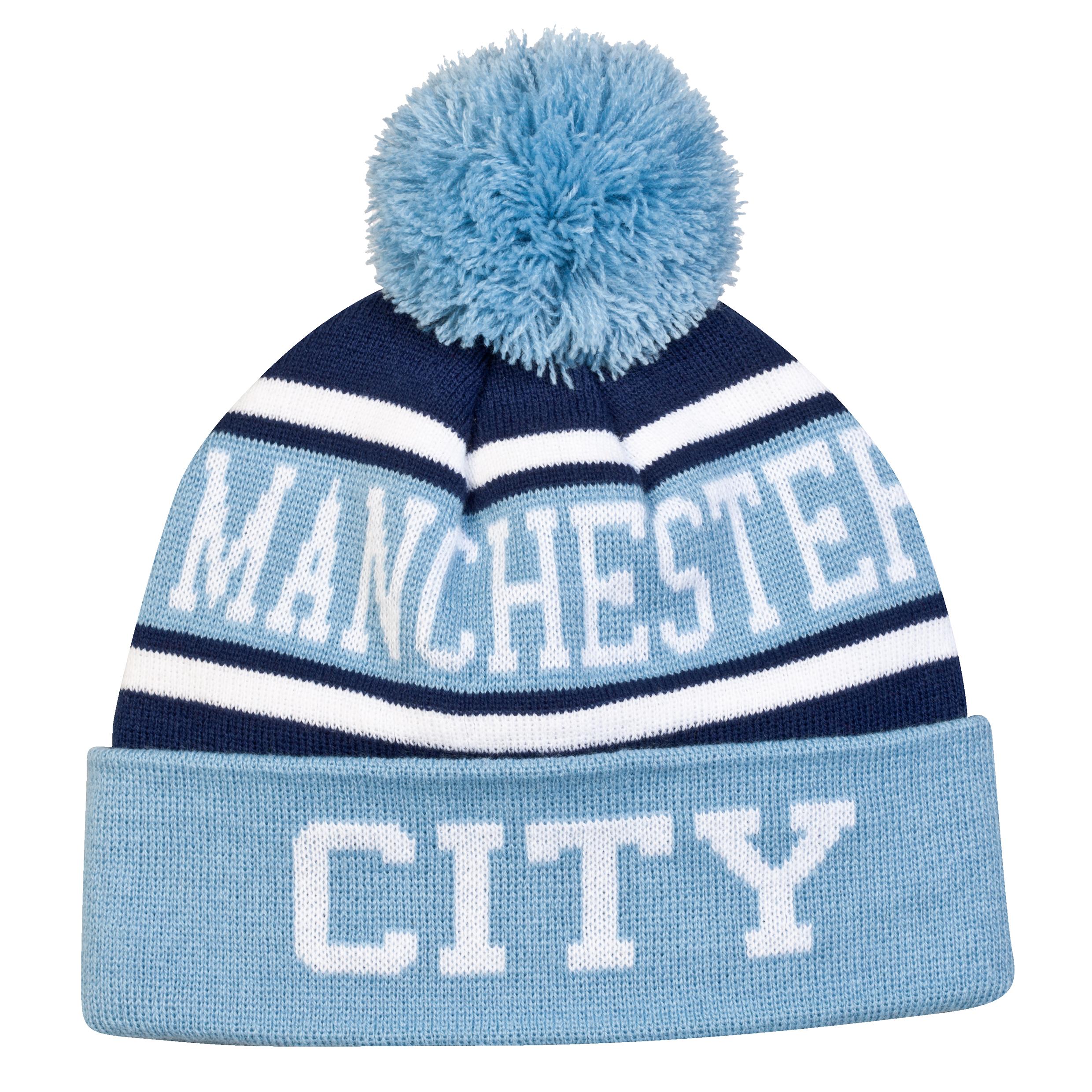 Manchester City Bobble Hat - Sky/Navy - -Adult