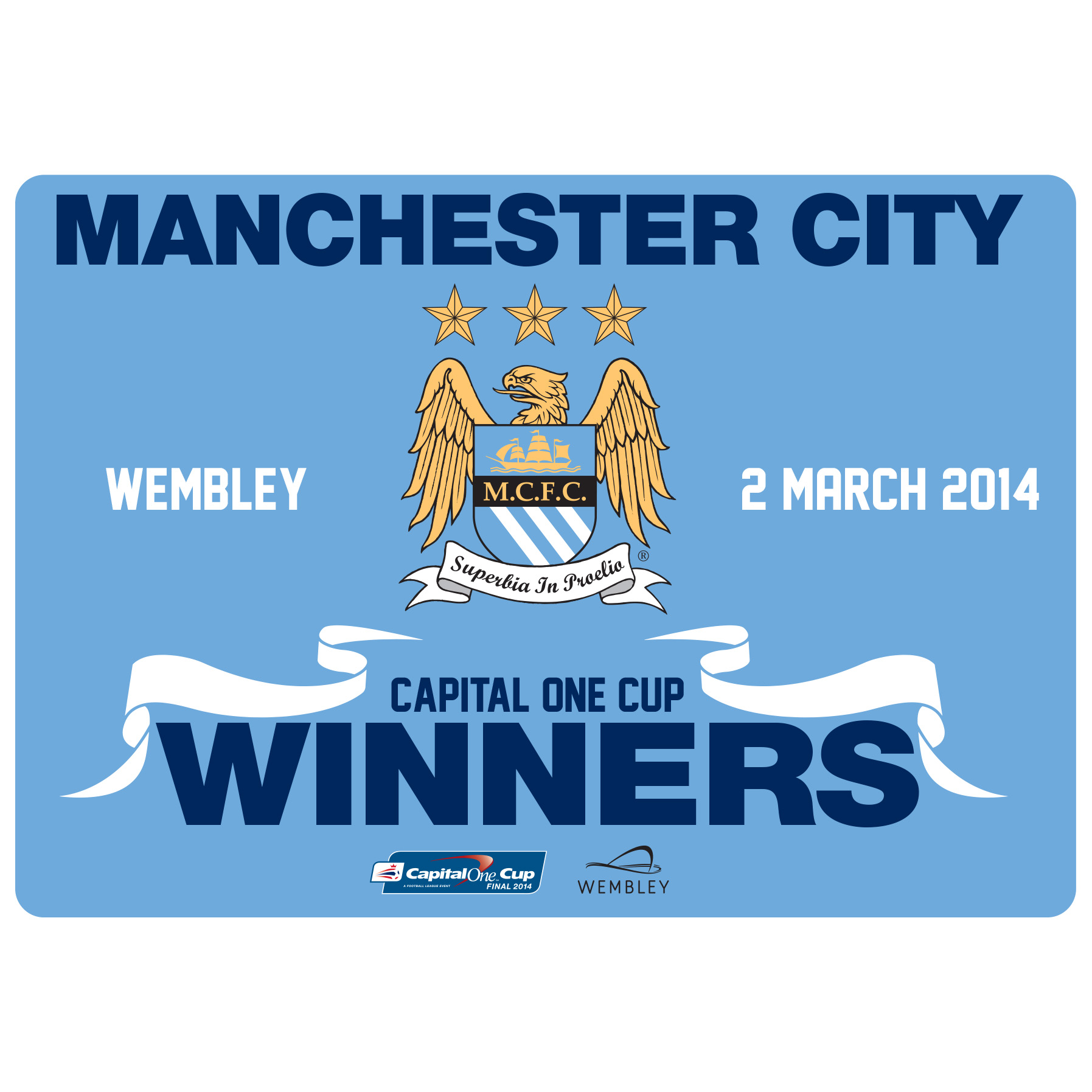 Manchester City Capital One Cup Winners Car Sticker