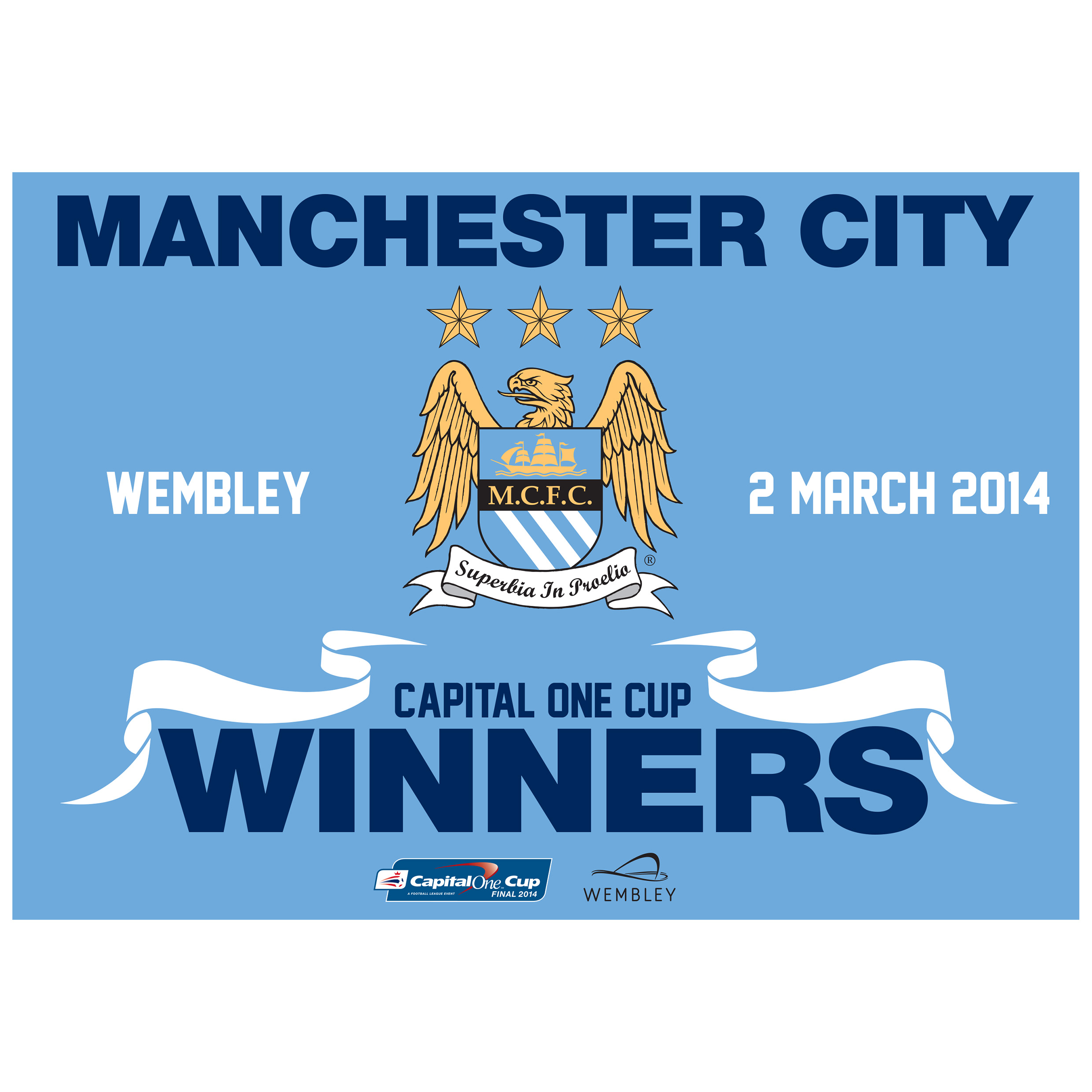 Manchester City Capital One Cup Winners Flag