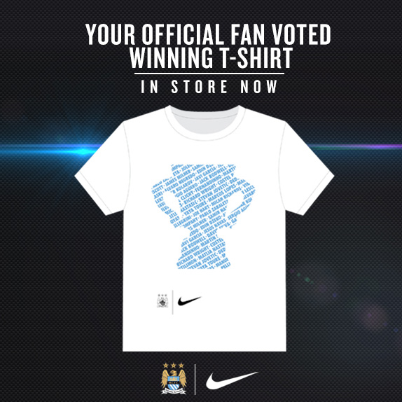 Manchester City Capital One Cup Winners T-Shirt - Kids White
