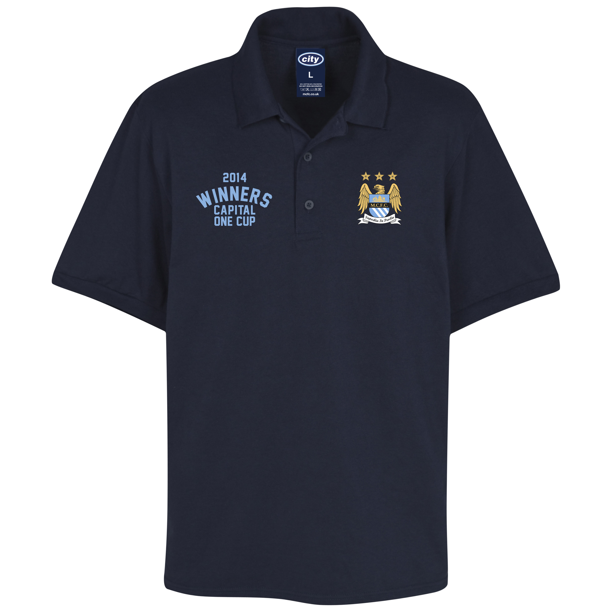 Manchester City Capital One Cup Winners Polo Shirt - Navy - Mens