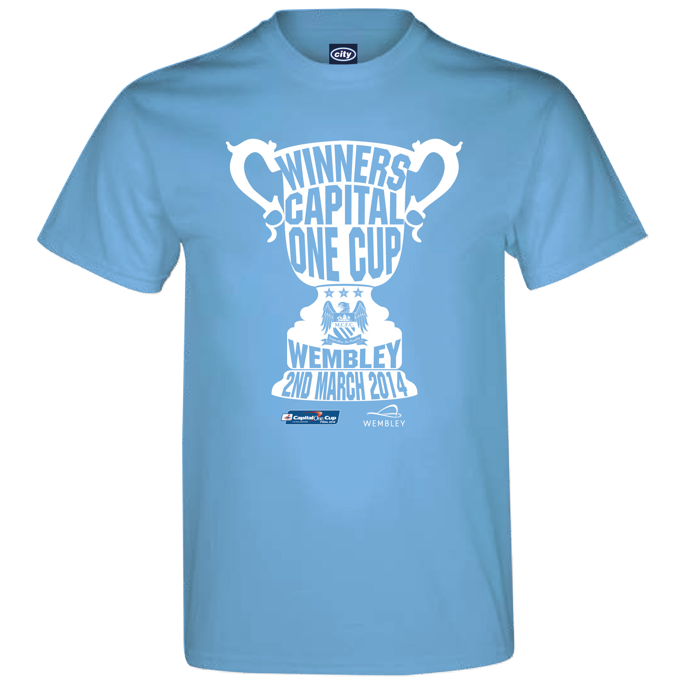 Manchester City Capital One Cup Winners T-Shirt - -Sky Blue - Mens