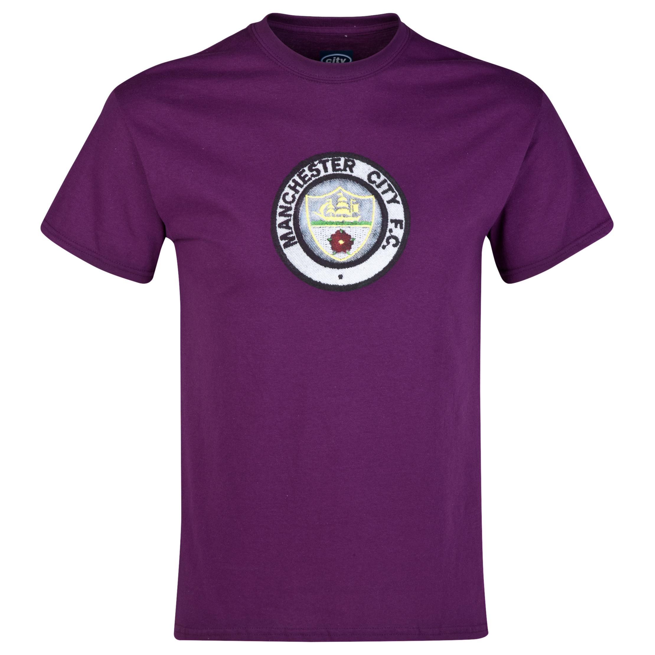 Manchester City 2 for 20 Retro Crest T-Shirt Purple