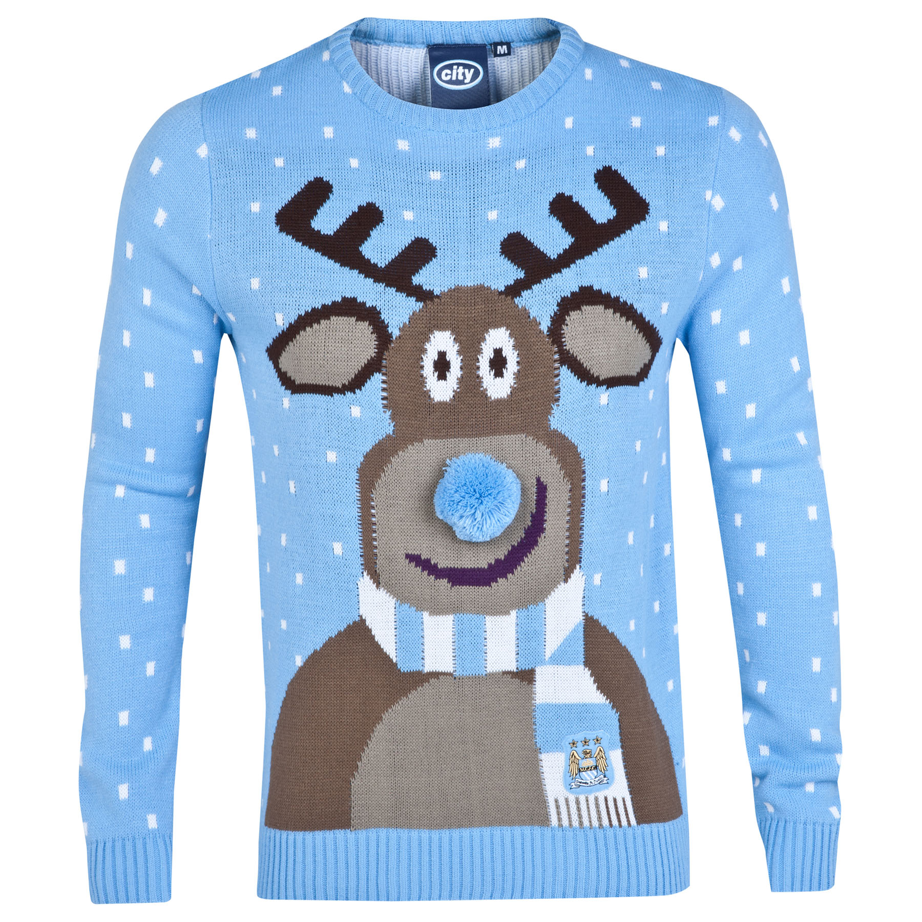 Manchester City Christmas Jumper - Sky - Adult