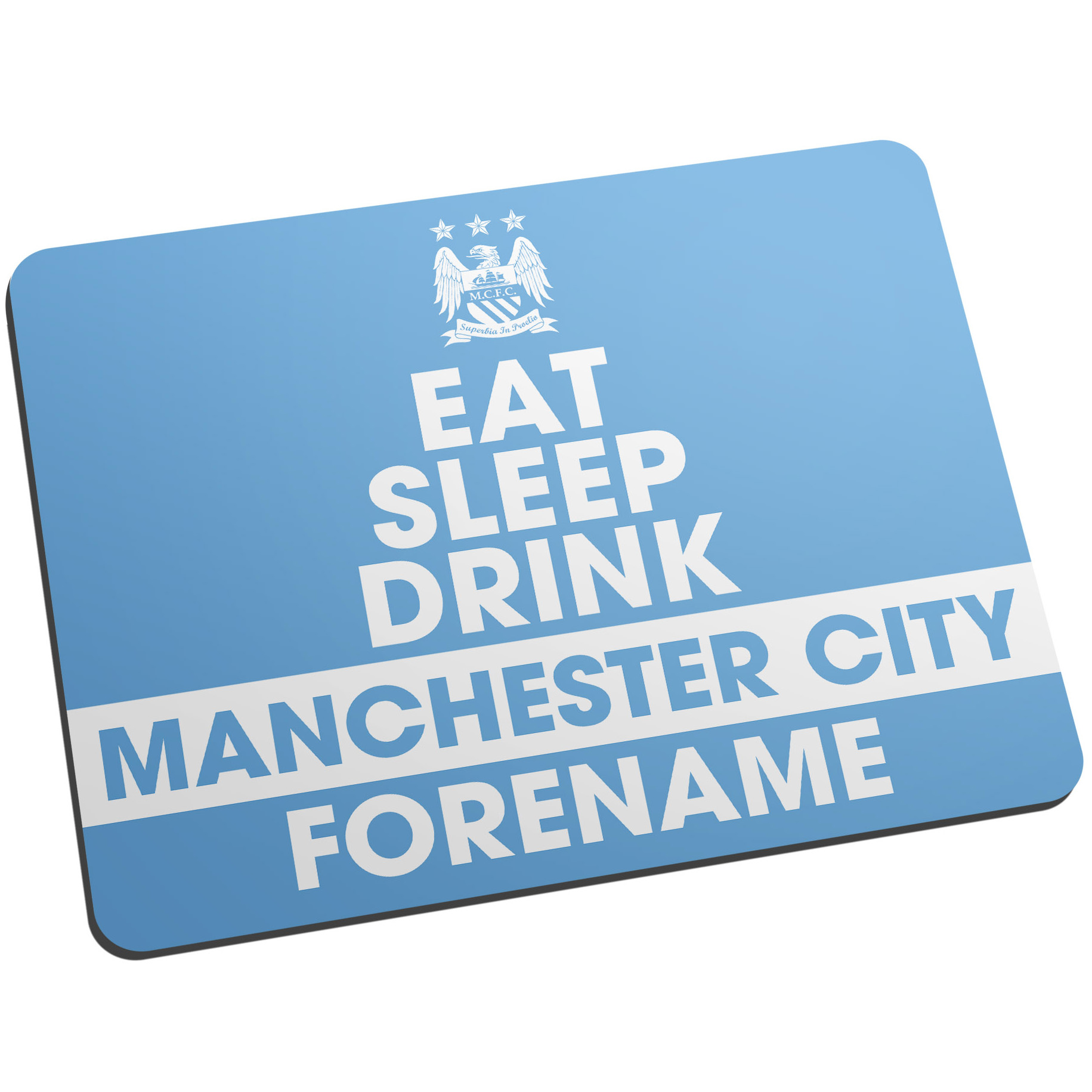 Manchester City Personalised Eat Sleep Drink Mouse Mat