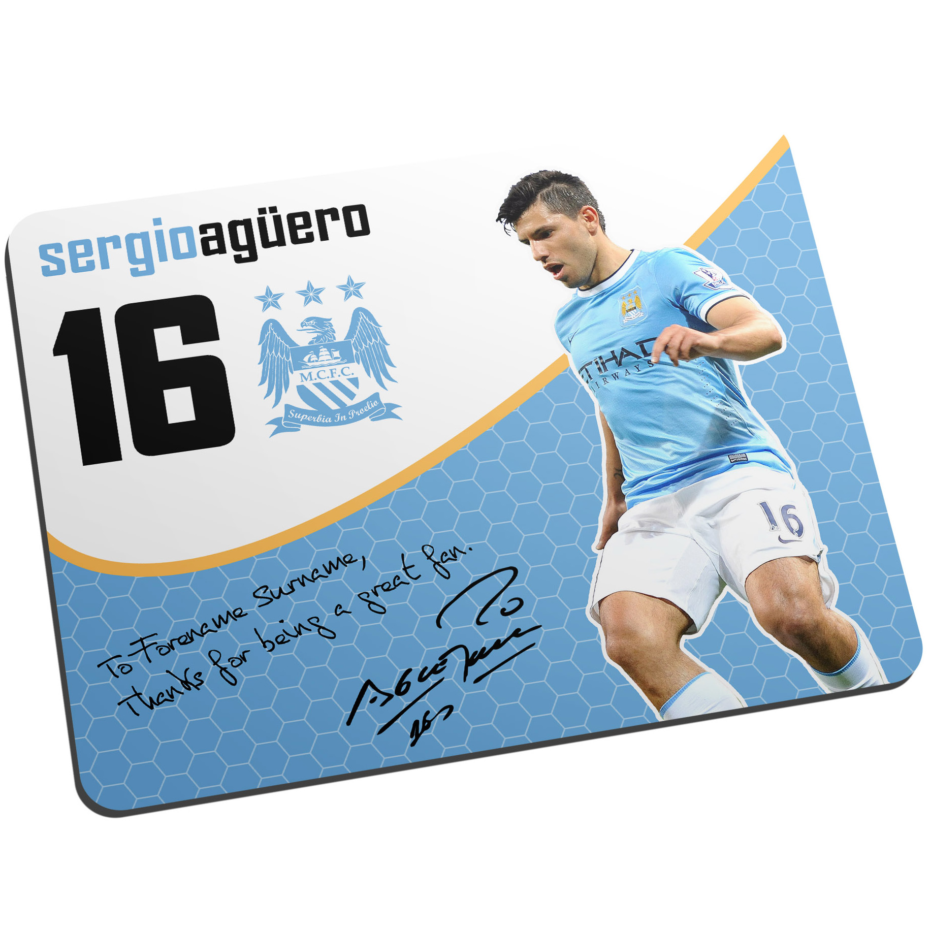 Manchester City Personalised Swirl Signature Mouse Mat - Aguero