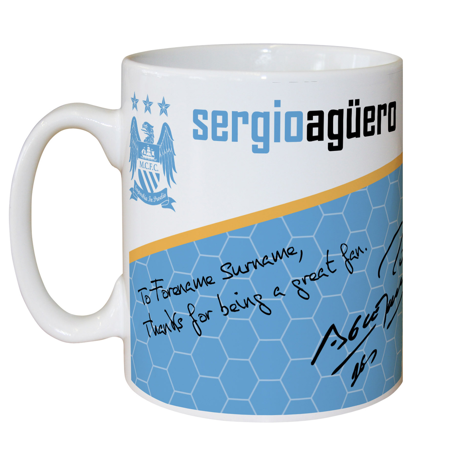 Manchester City Personalised Swirl Signature Mug - Aguero