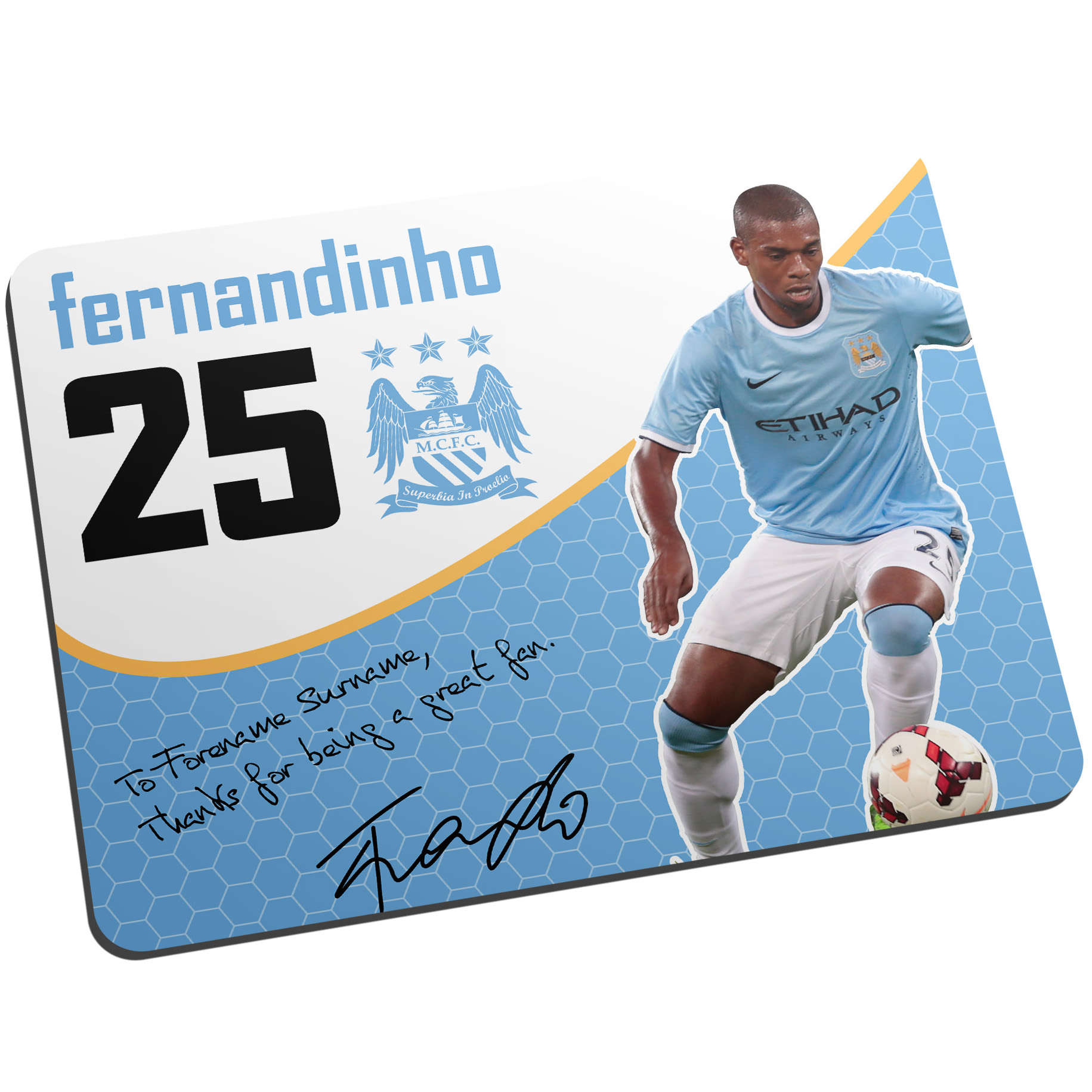 Manchester City Personalised Swirl Signature Mouse Mat - Fernandinho