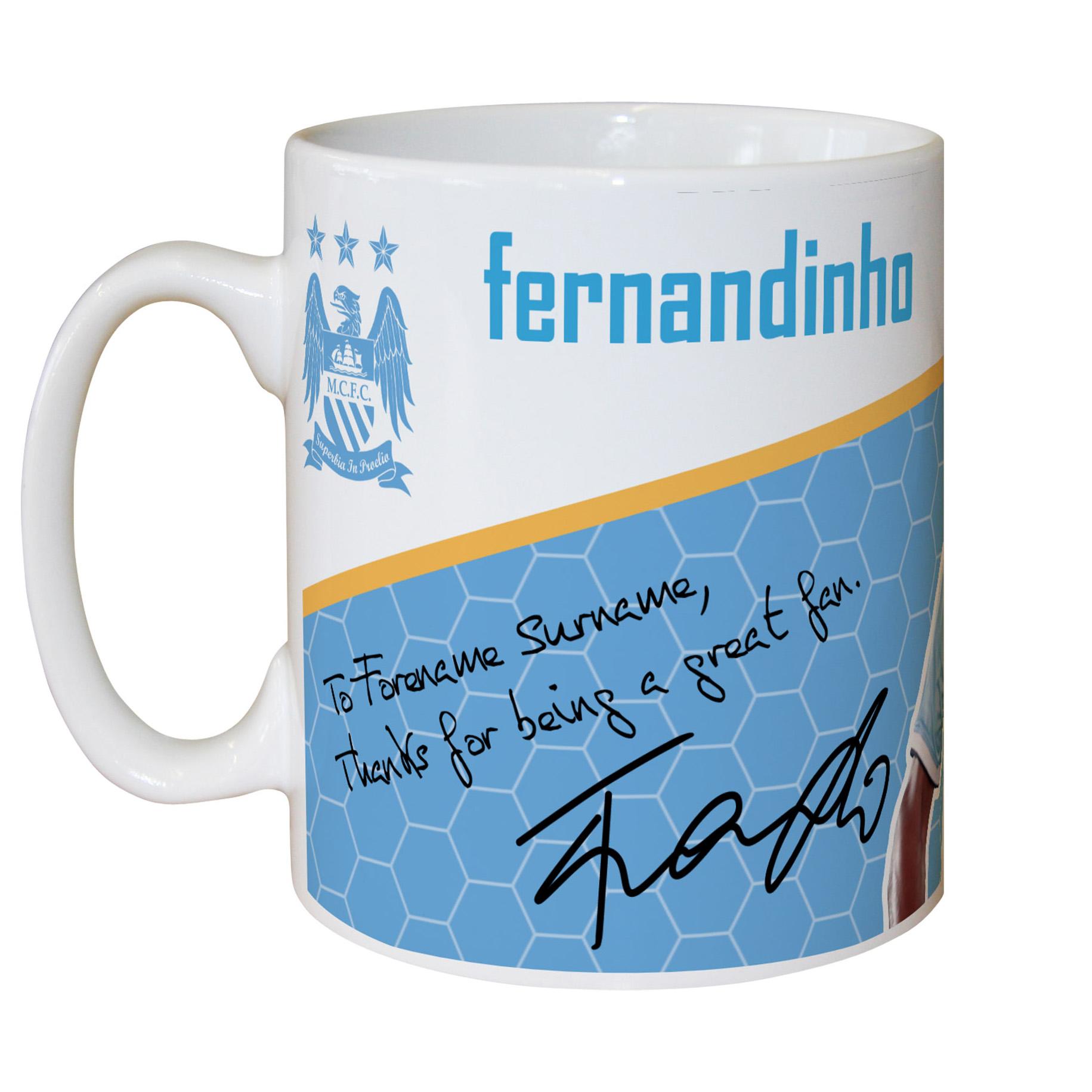 Manchester City Personalised Swirl Signature Mug - Fernandinho