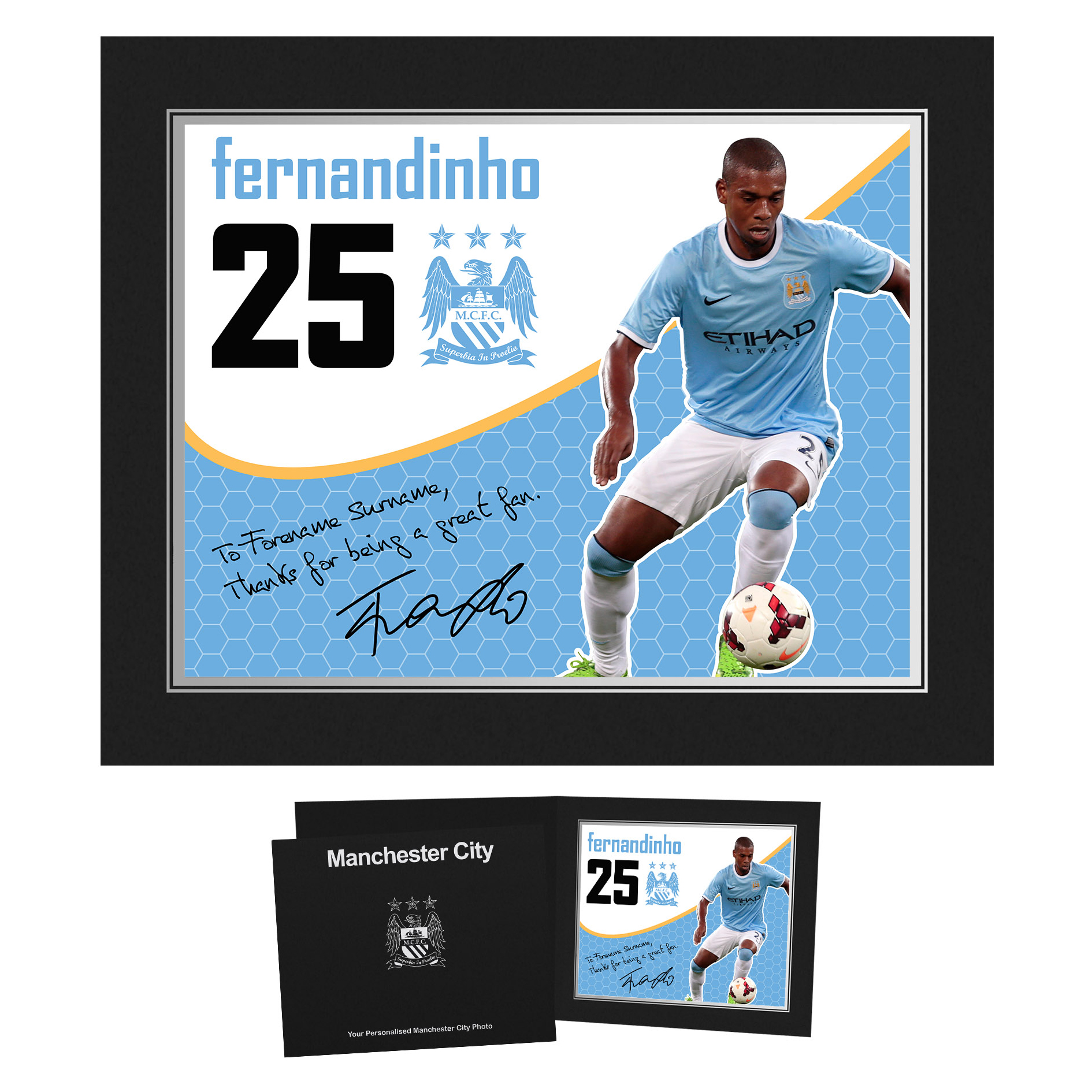 Manchester City Personalised Swirl Signature Photo in Presentation Folder - Fernandinho