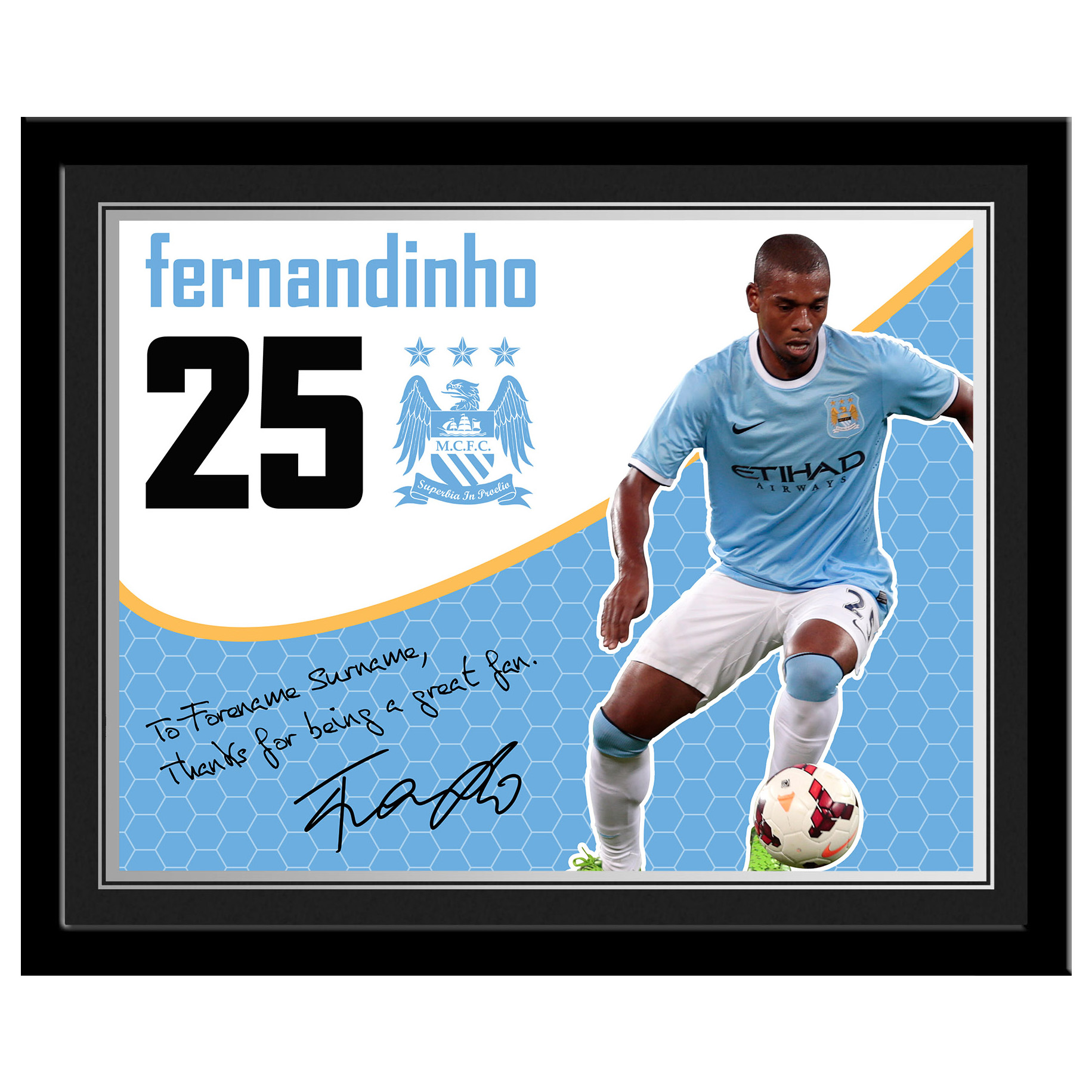 Manchester City Personalised Swirl Signature Photo Framed - Fernandinho