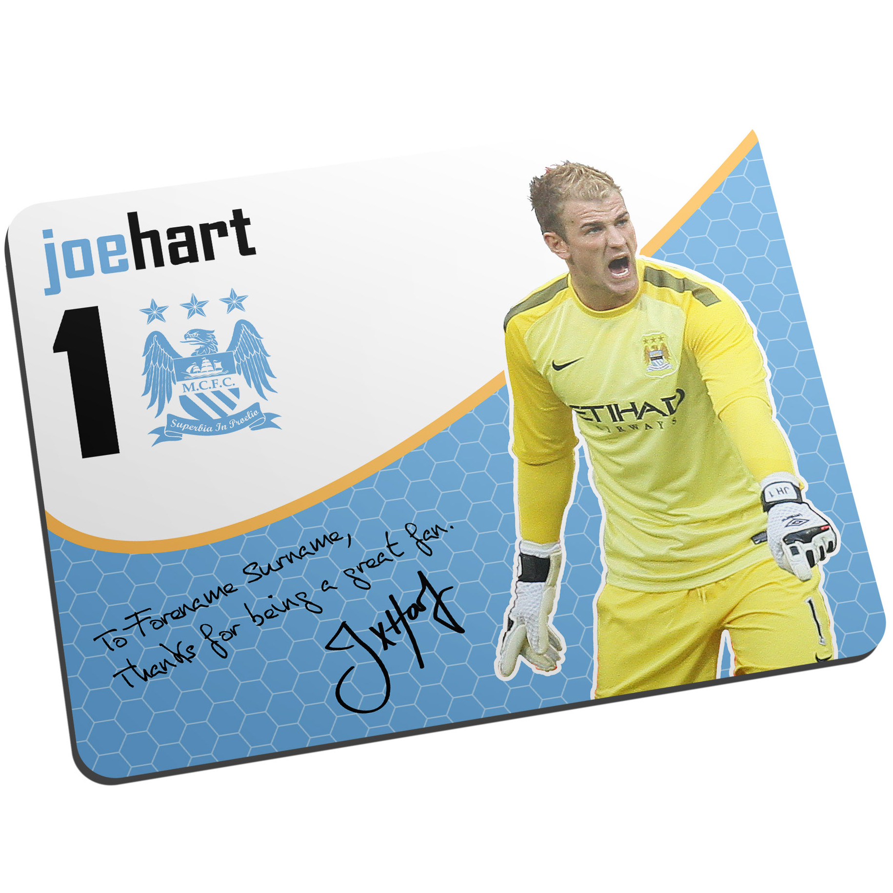 Manchester City Personalised Swirl Signature Mouse Mat - Hart