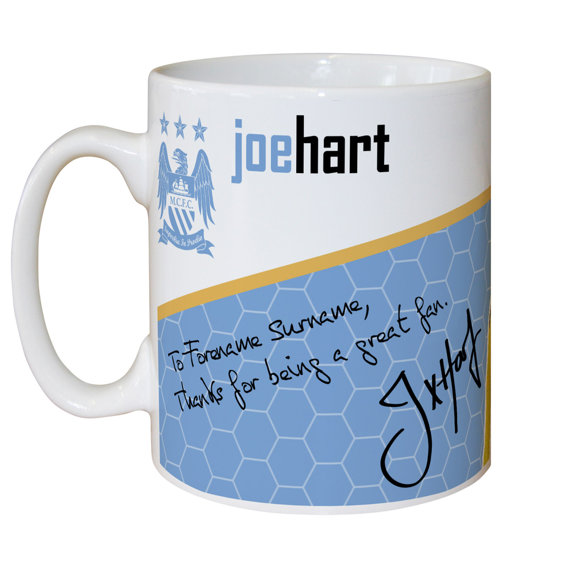 Manchester City Personalised Swirl Signature Mug - Hart