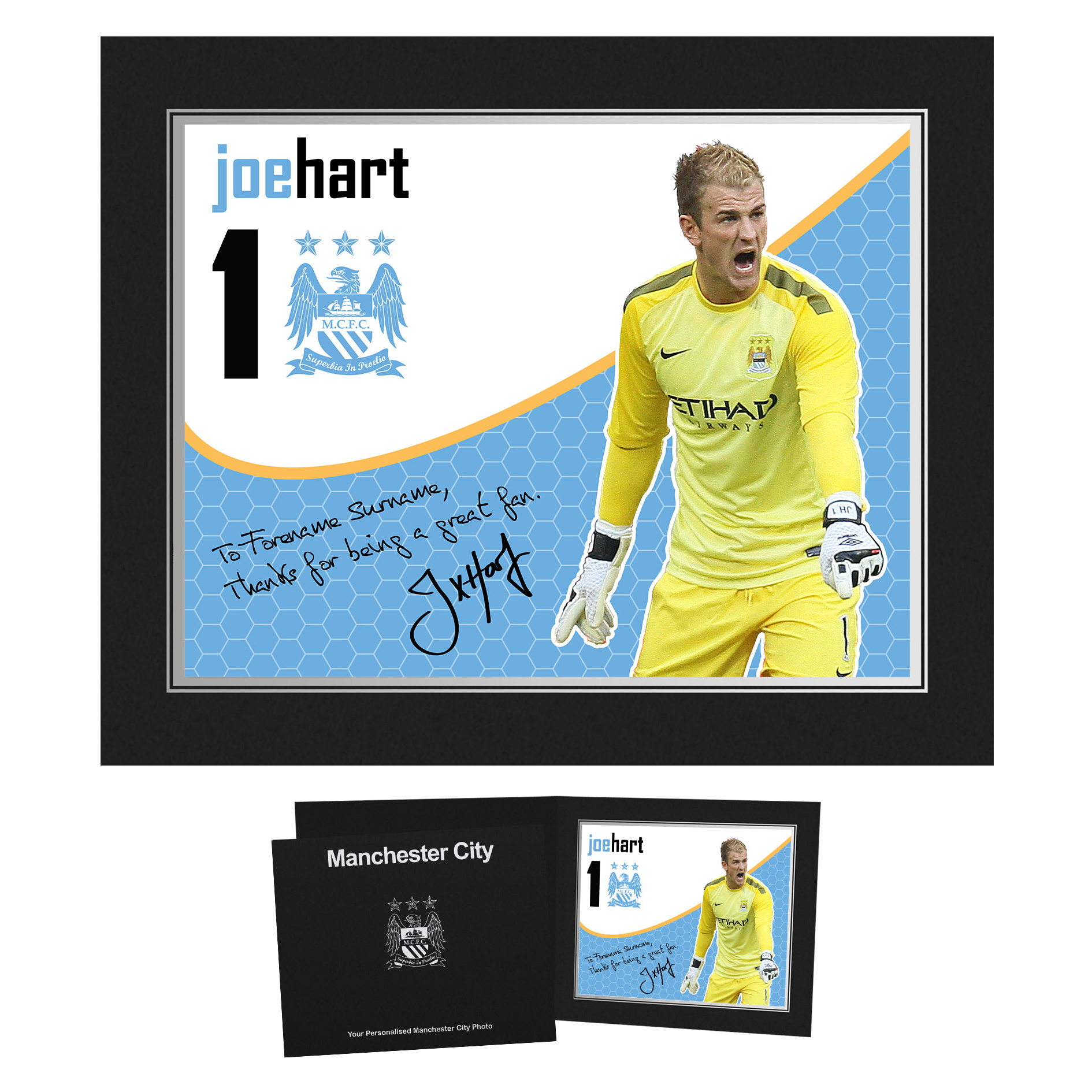 Manchester City Personalised Swirl Signature Photo in Presentation Folder - Hart