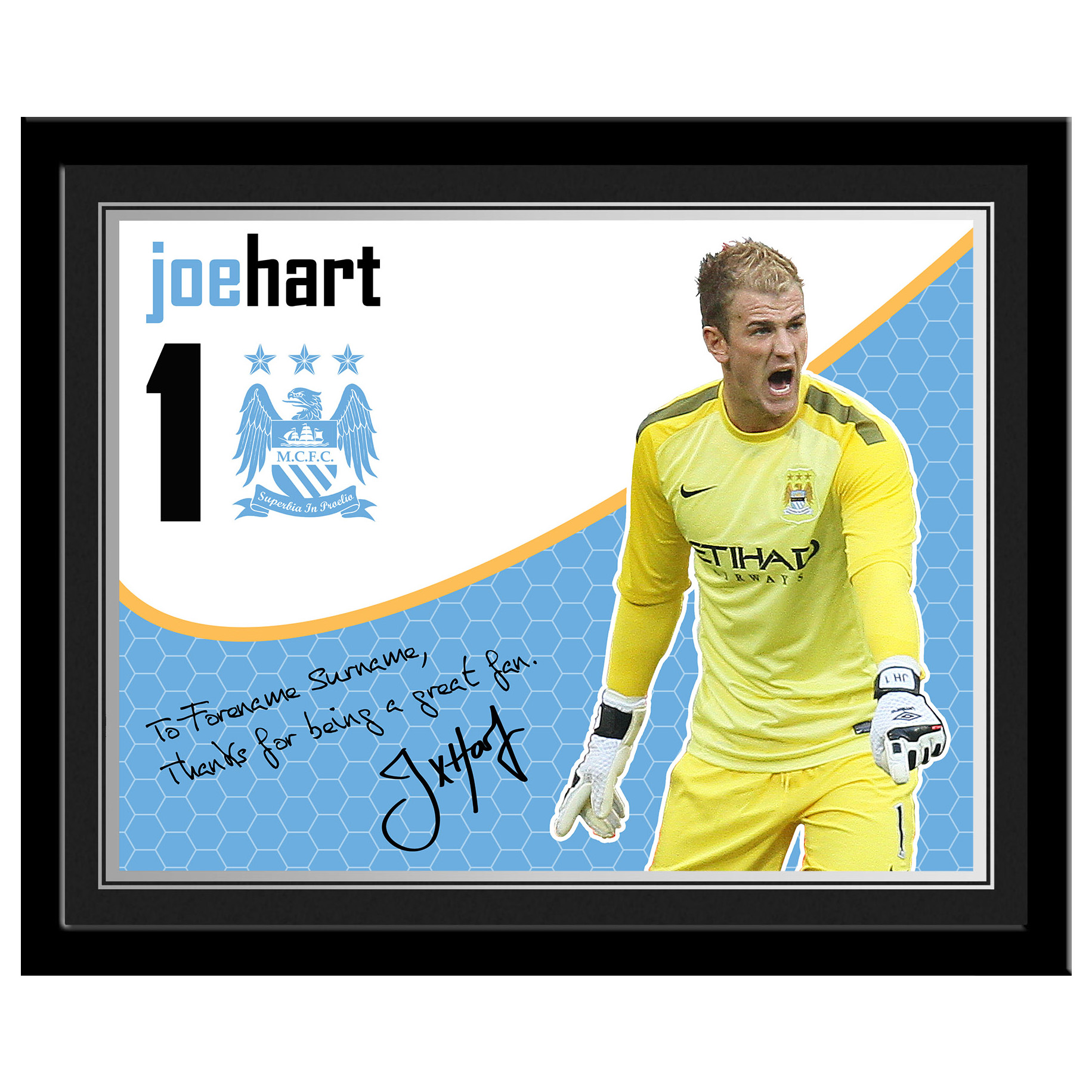 Manchester City Personalised Swirl Signature Photo Framed - Hart
