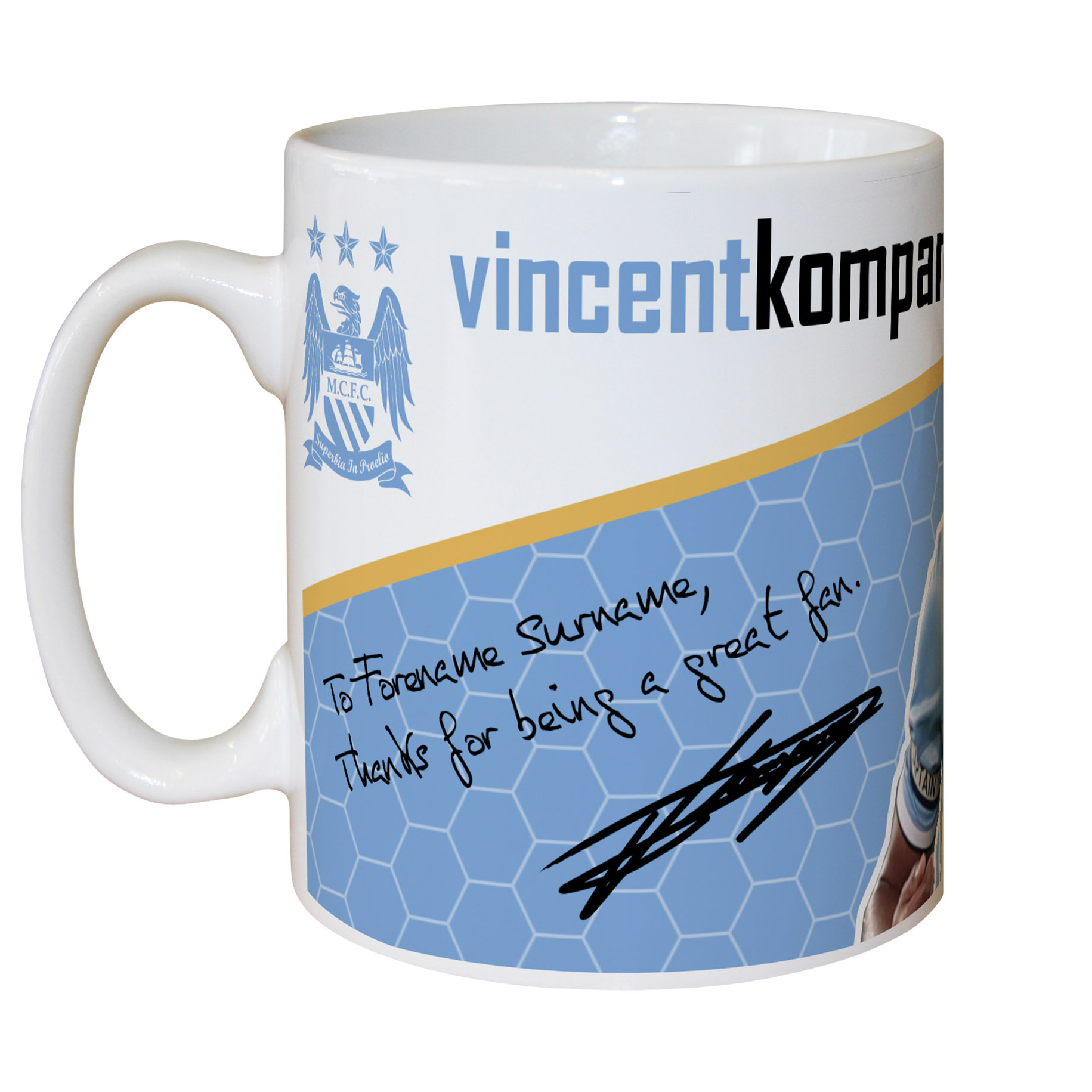 Manchester City Personalised Swirl Signature Mug - Kompany
