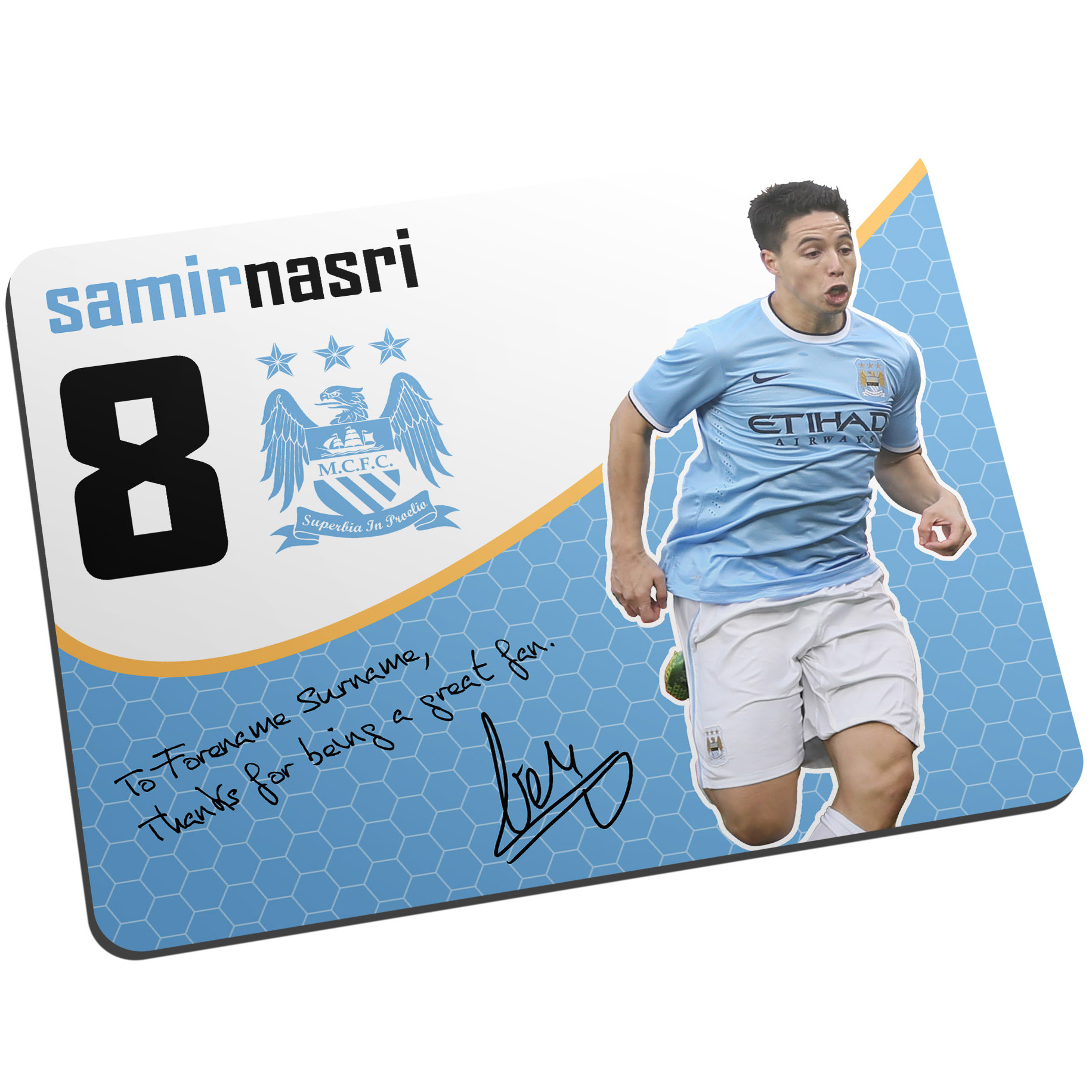 Manchester City Personalised Swirl Signature Mouse Mat - Nasri