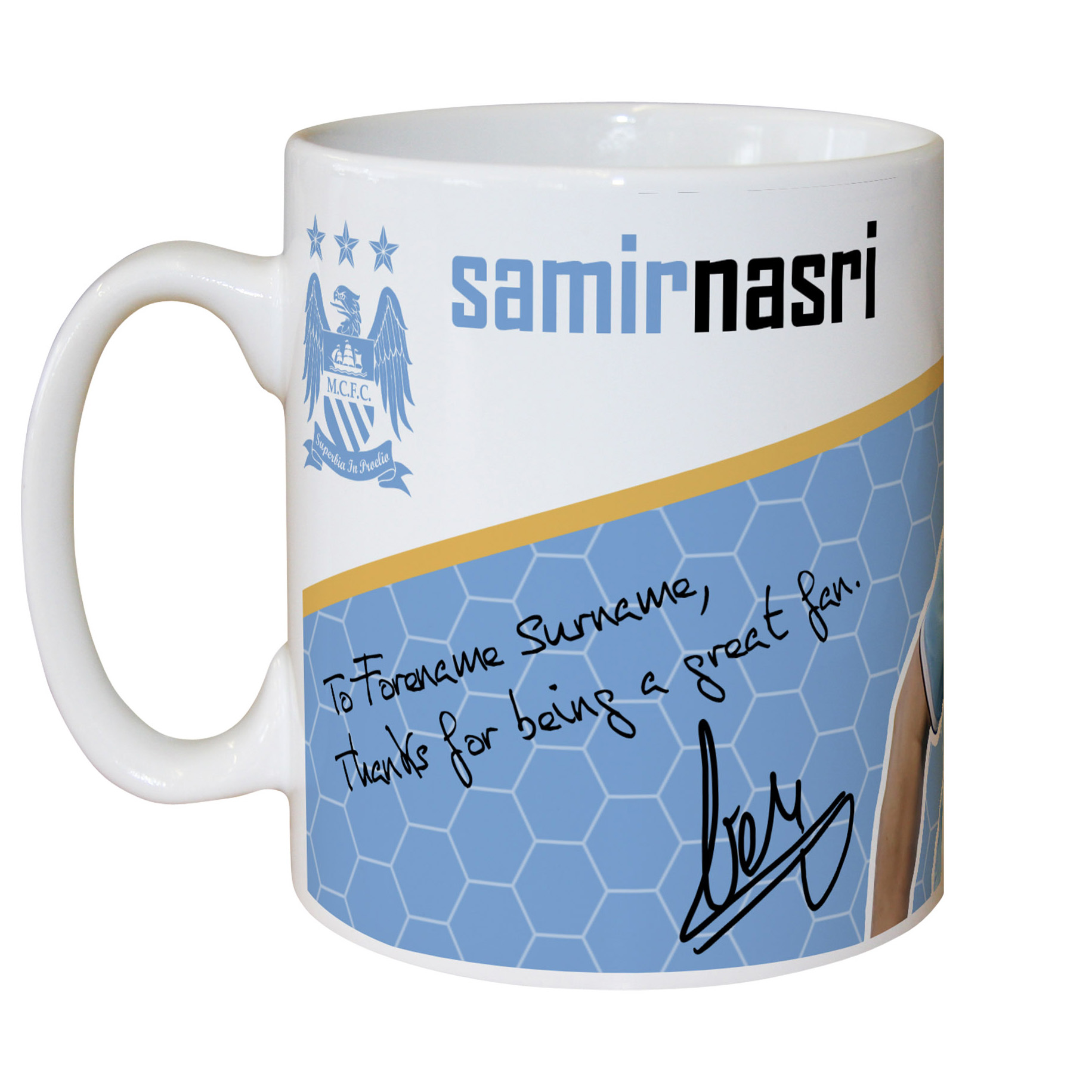 Manchester City Personalised Swirl Signature Mug - Nasri
