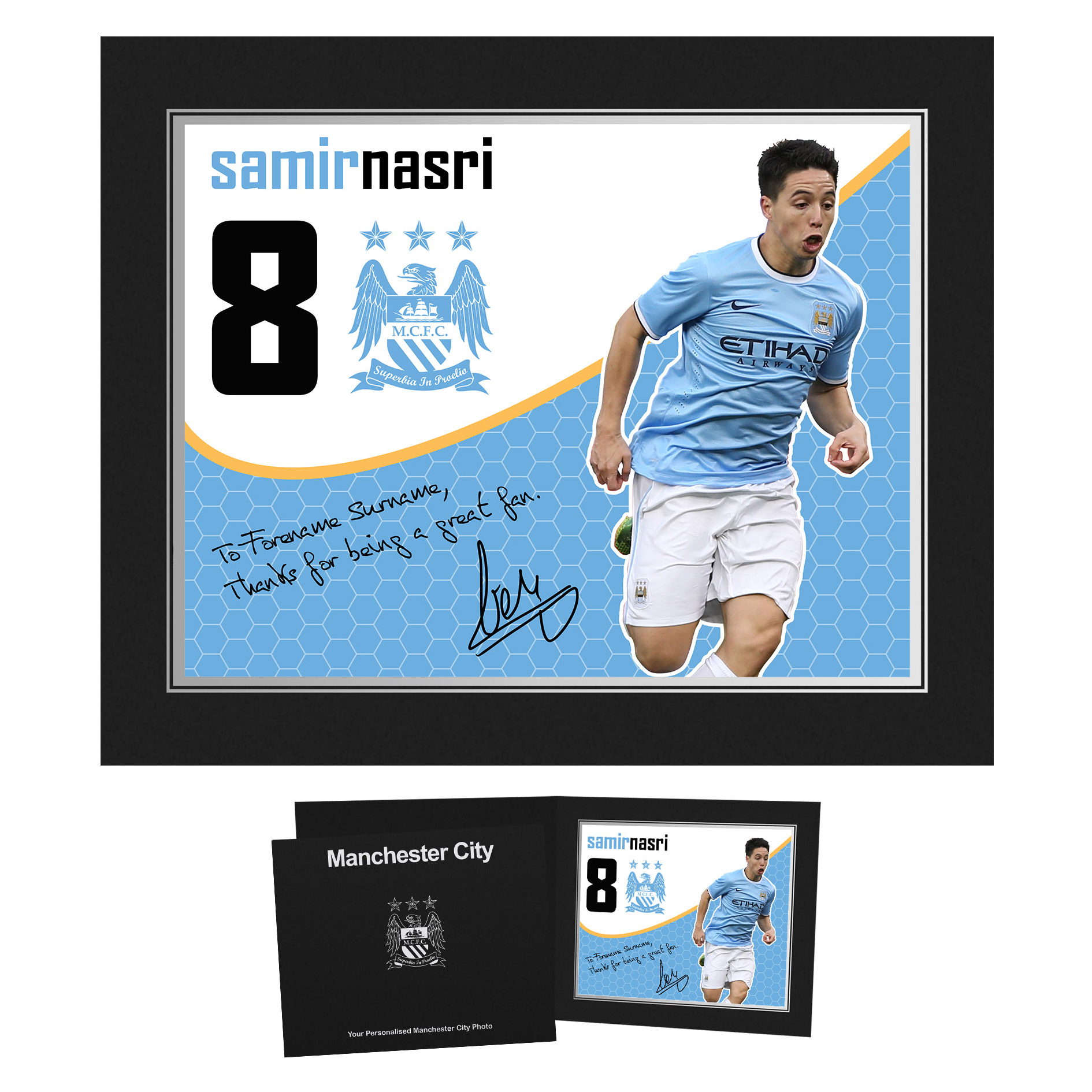 Manchester City Personalised Swirl Signature Photo in Presentation Folder - Nasri