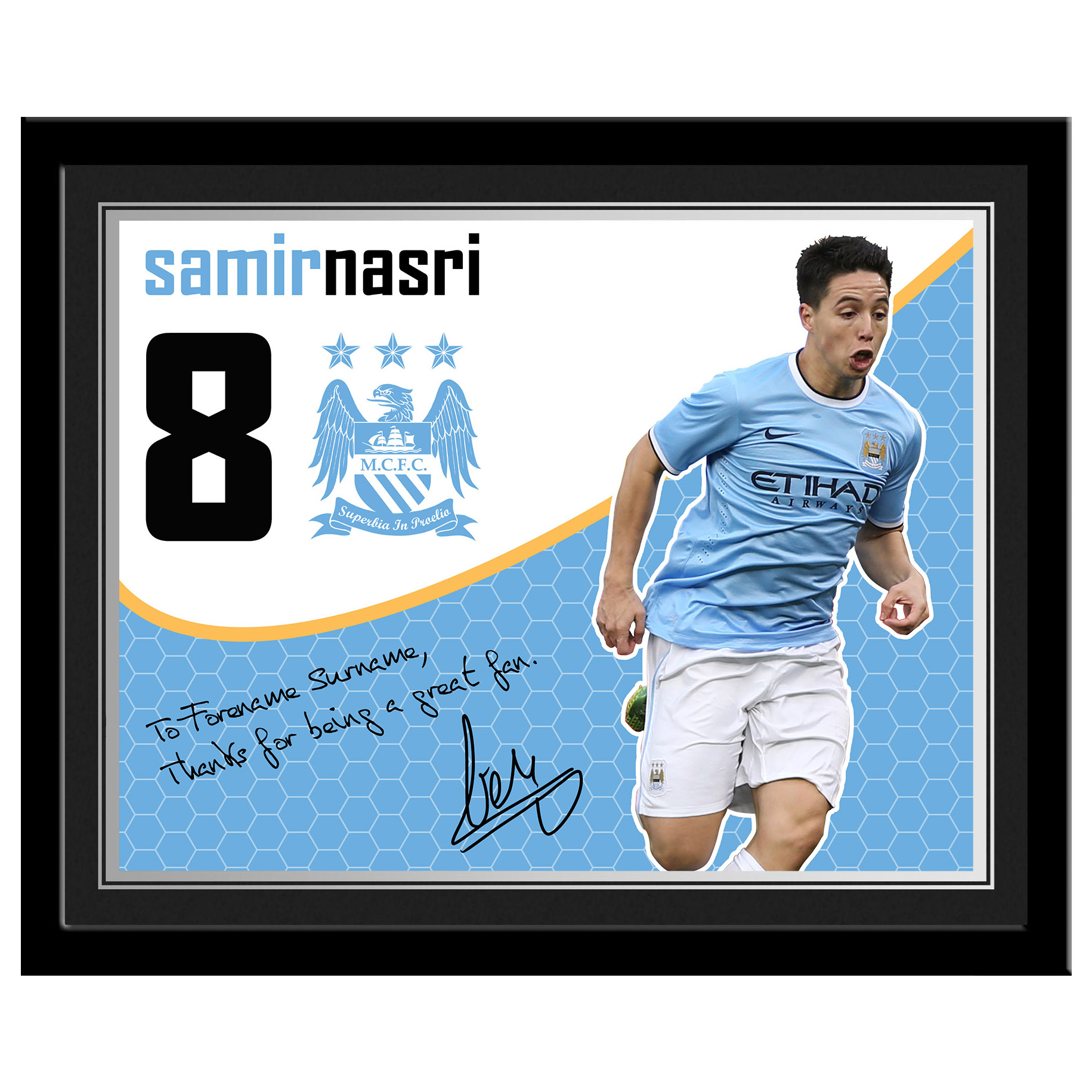 Manchester City Personalised Swirl Signature Photo Framed - Nasri