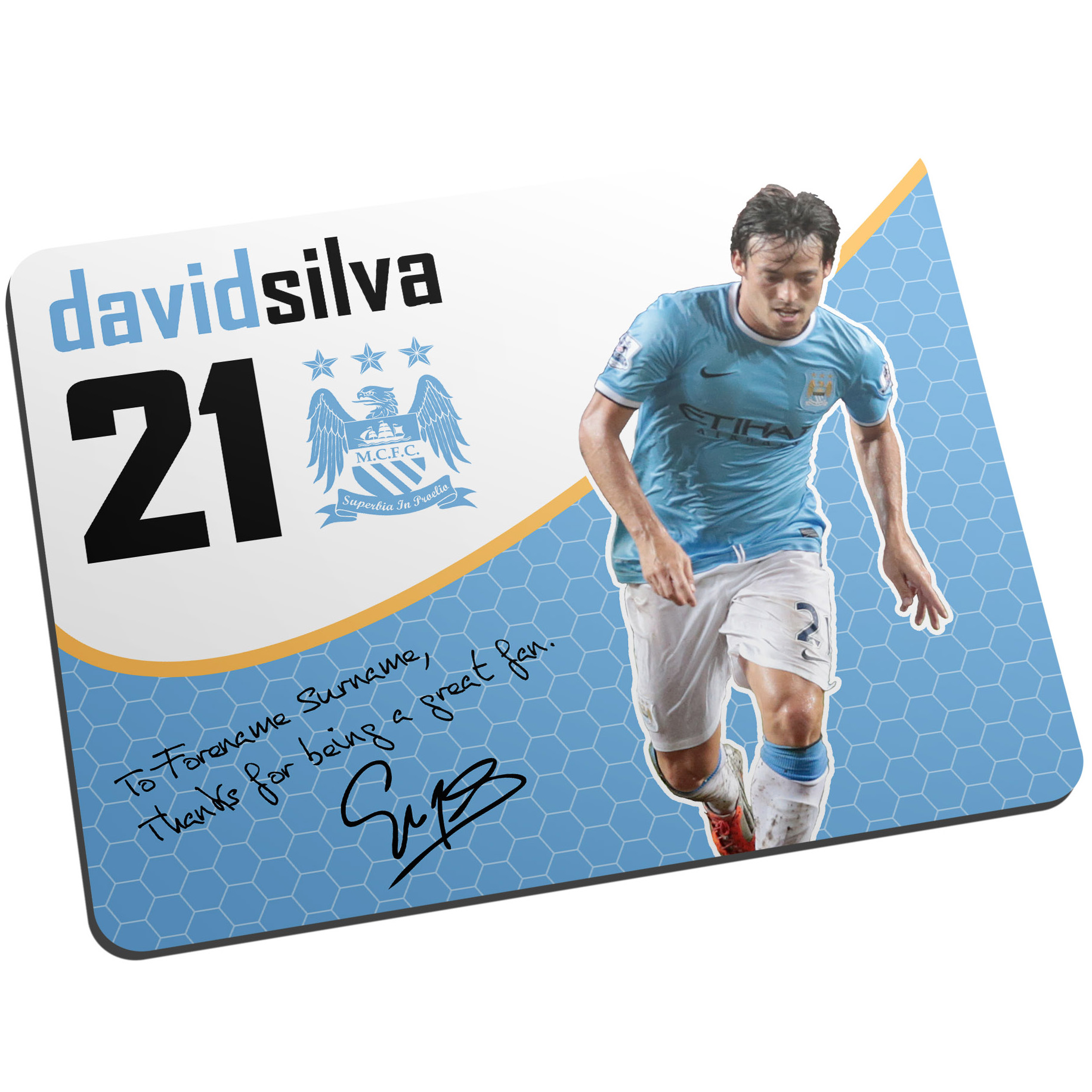 Manchester City Personalised Swirl Signature Mouse Mat - Silva