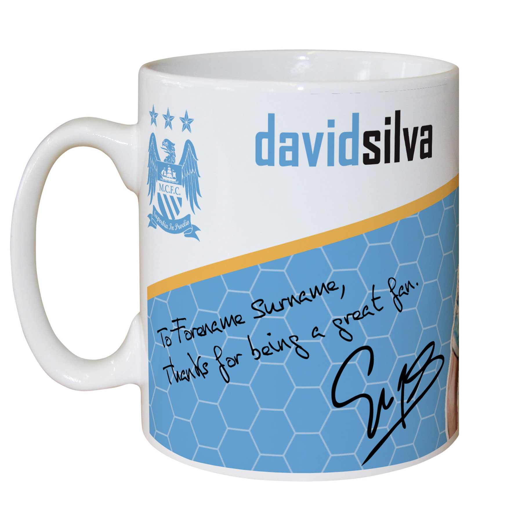 Manchester City Personalised Swirl Signature Mug - Silva