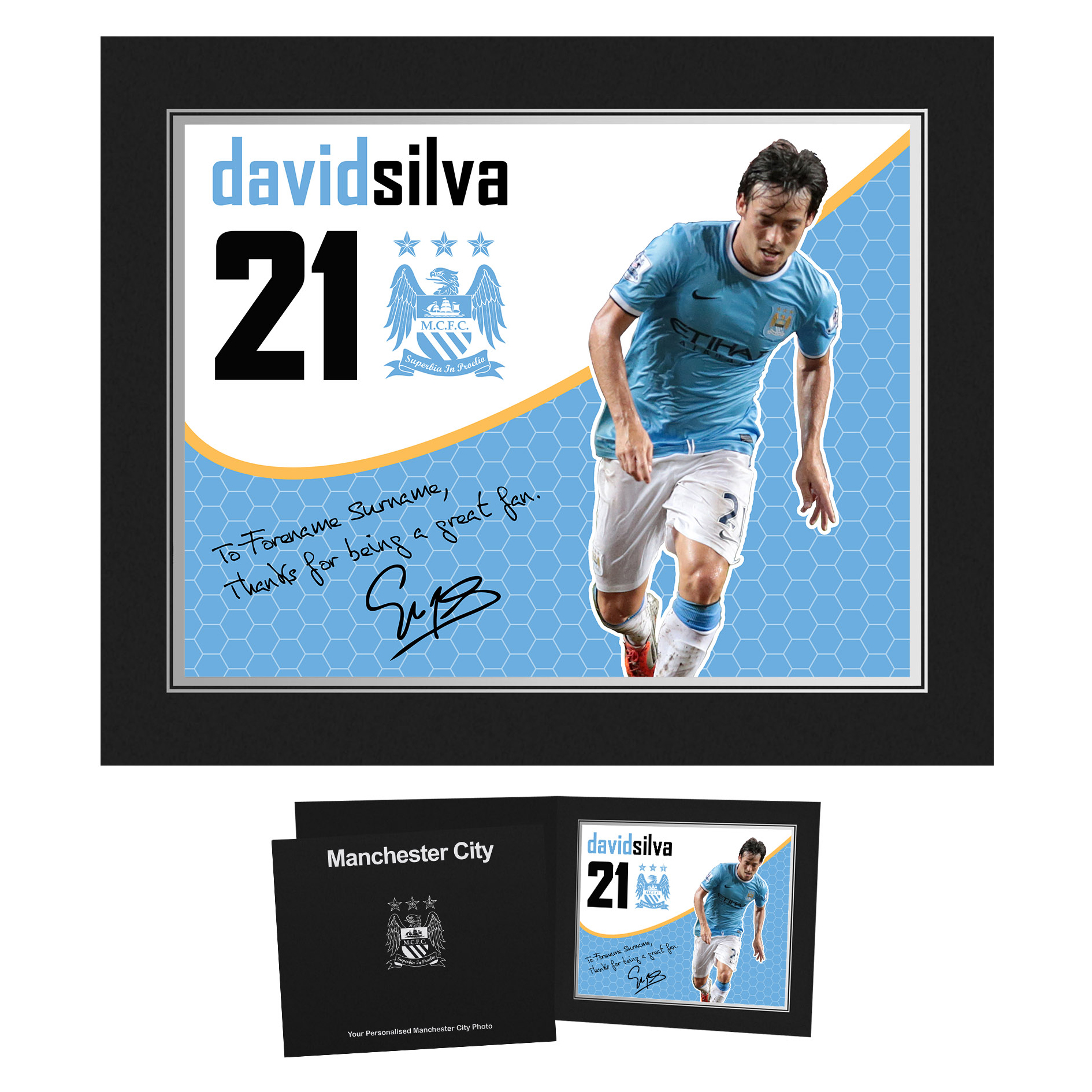 Manchester City Personalised Swirl Signature Photo in Presentation Folder - Silva