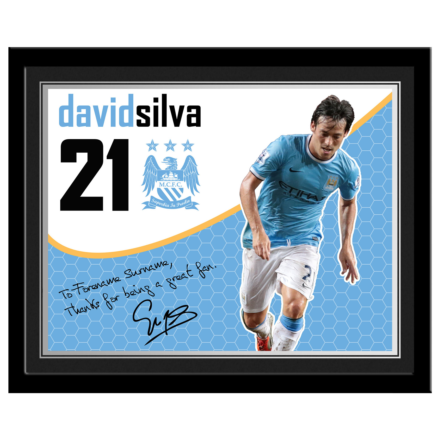 Manchester City Personalised Swirl Signature Photo Framed - Silva