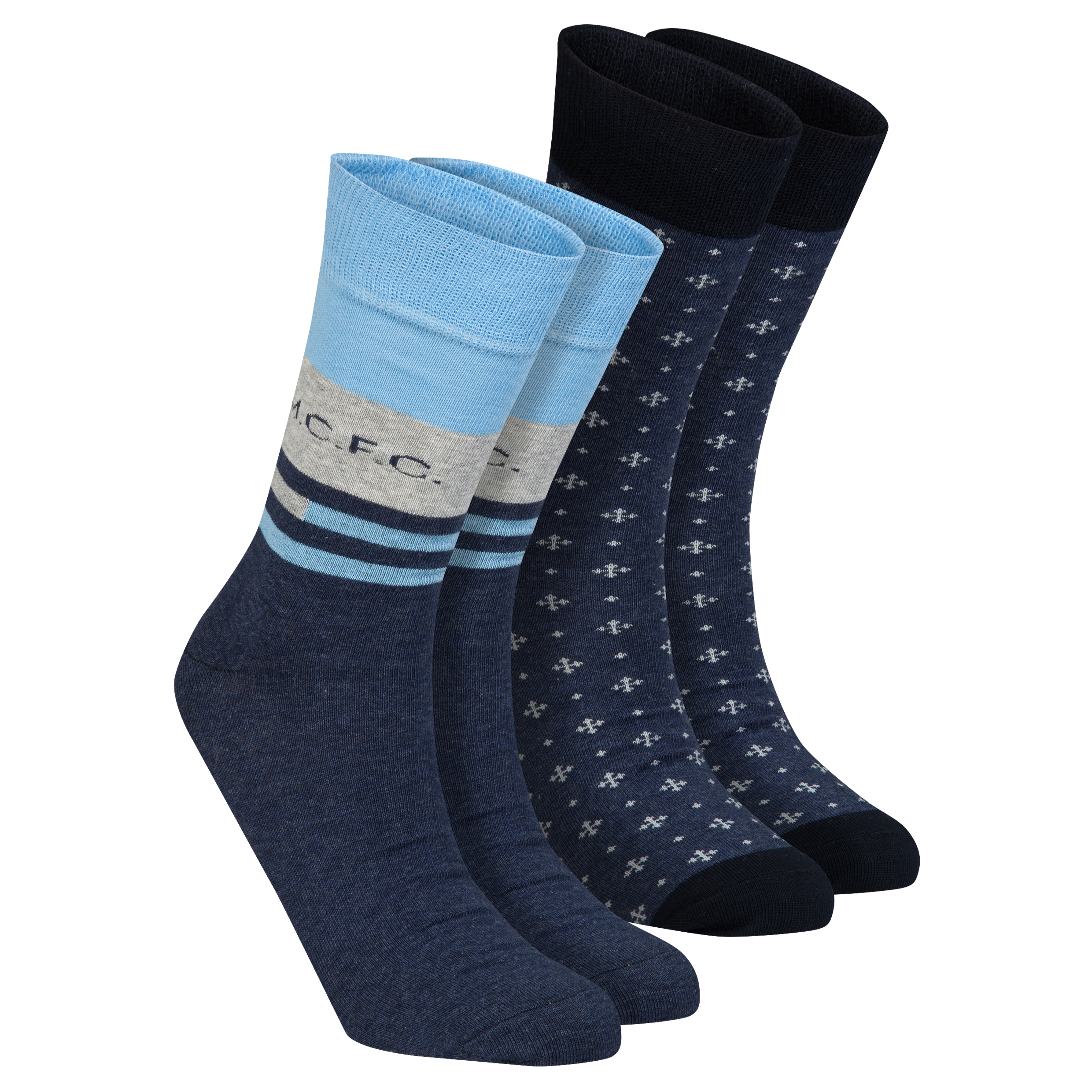 Manchester City 2PK Dress Socks - Grey/Navy - Mens