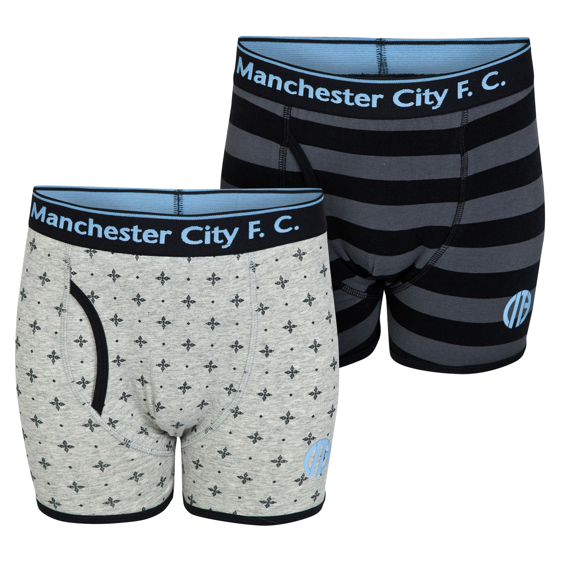Manchester City 2PK Boxer Shorts - Black/Grey - Older Boys