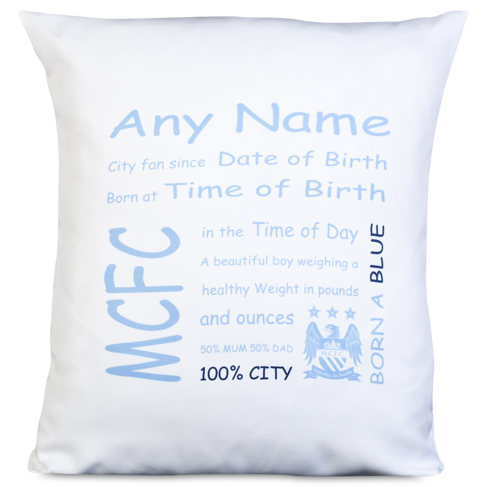 Manchester City Personalised Crest City Fan Since Cushion with Padding 400 X 400 mm