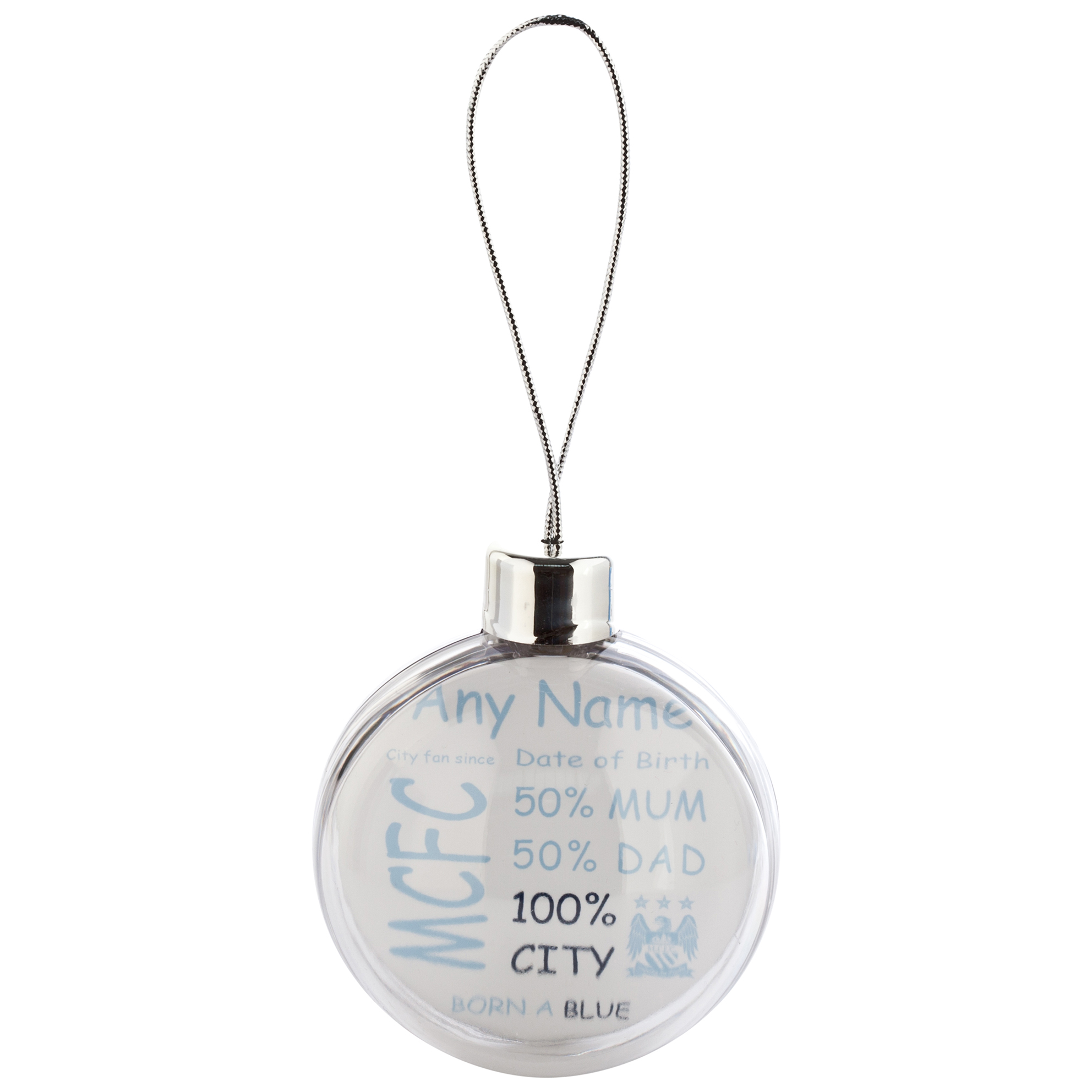 Manchester City Personalised Crest City Fan Since Bauble