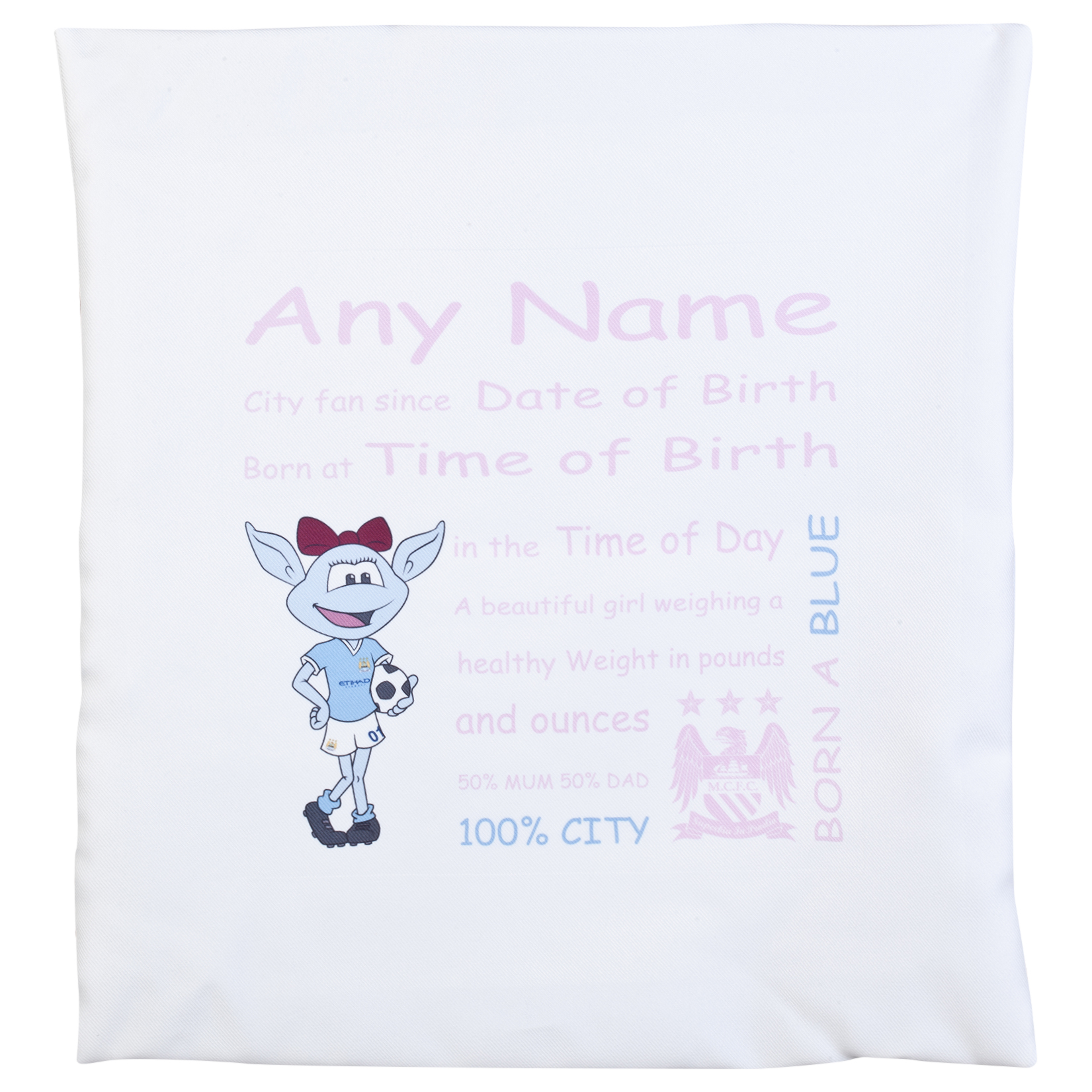 Manchester City Personalised Moonbeam City Fan Since Cushion Cover 400 X 400 mm