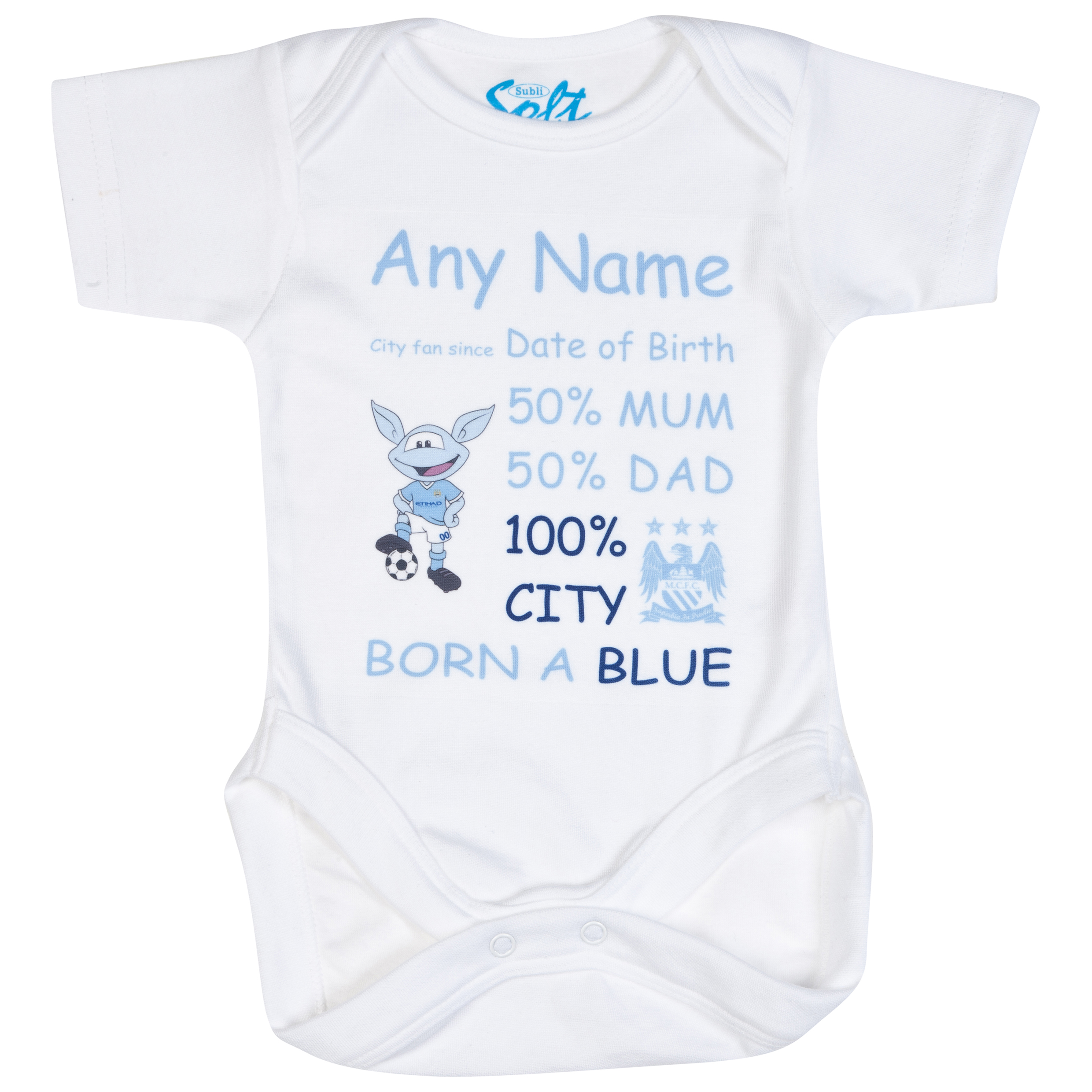 Manchester City Personalised Moonchester City Fan Since Bodysuit White