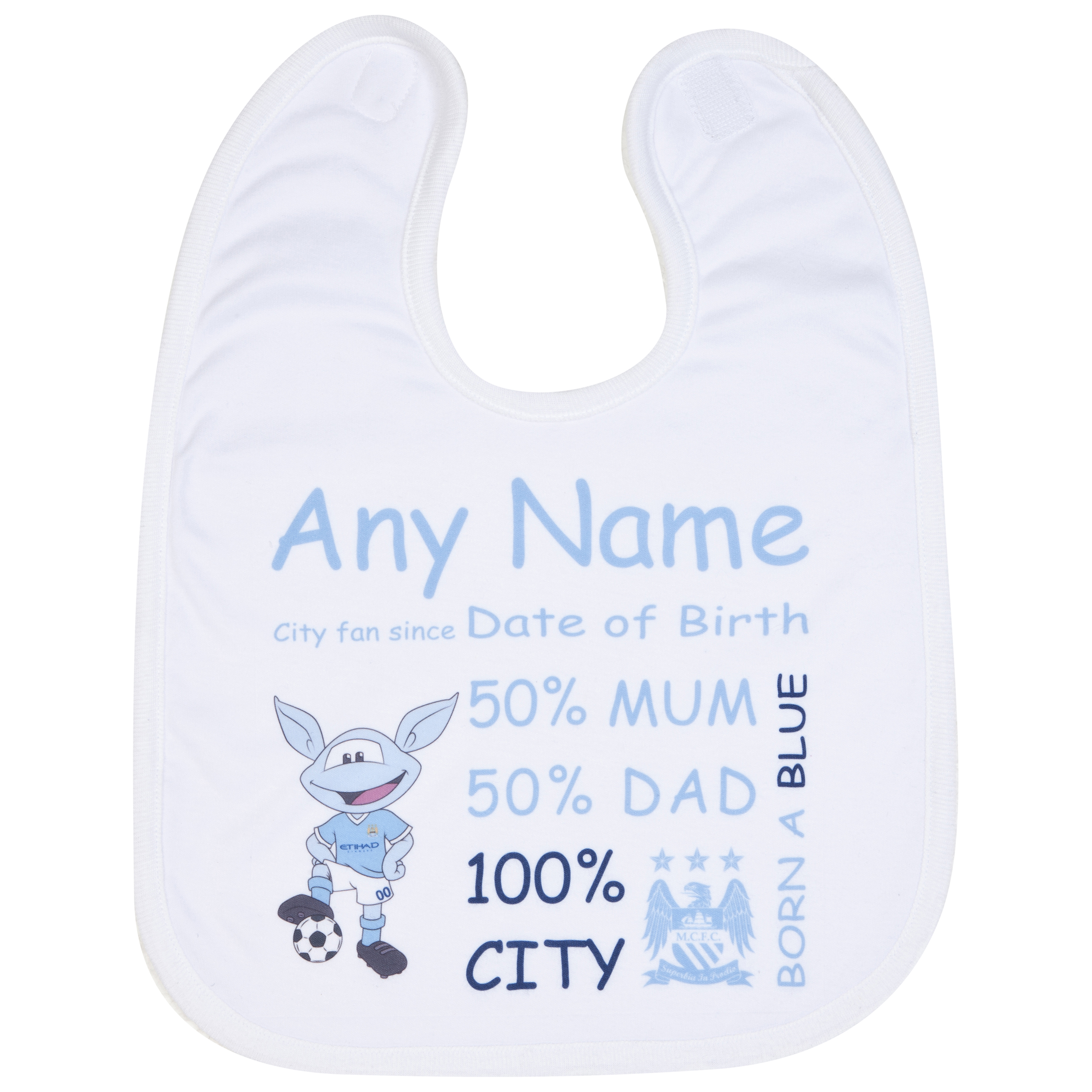 Manchester City Personalised Moonchester City Fan Since Bib White