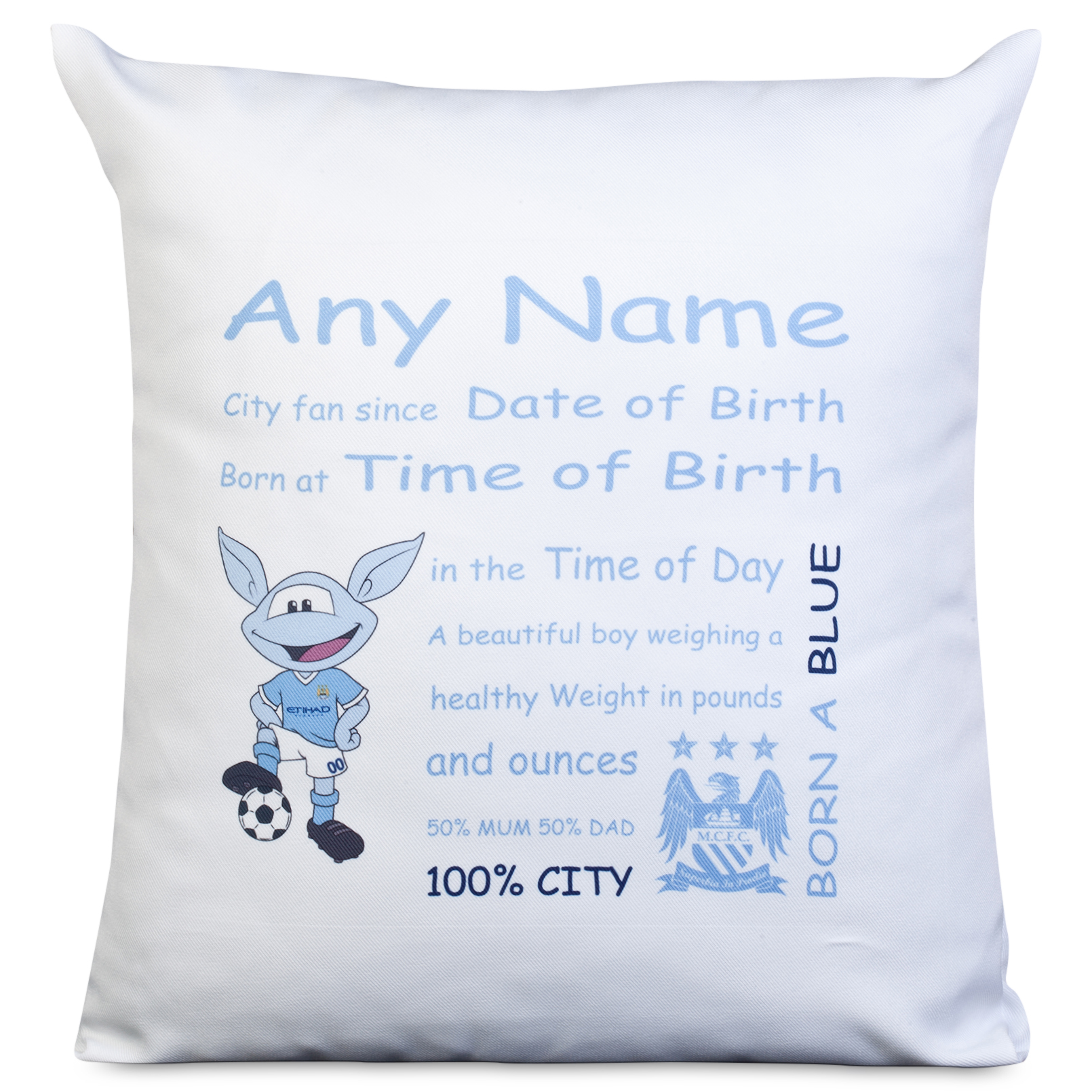 Manchester City Personalised Moonchester City Fan Since Cushion with Padding 400 X 400 mm