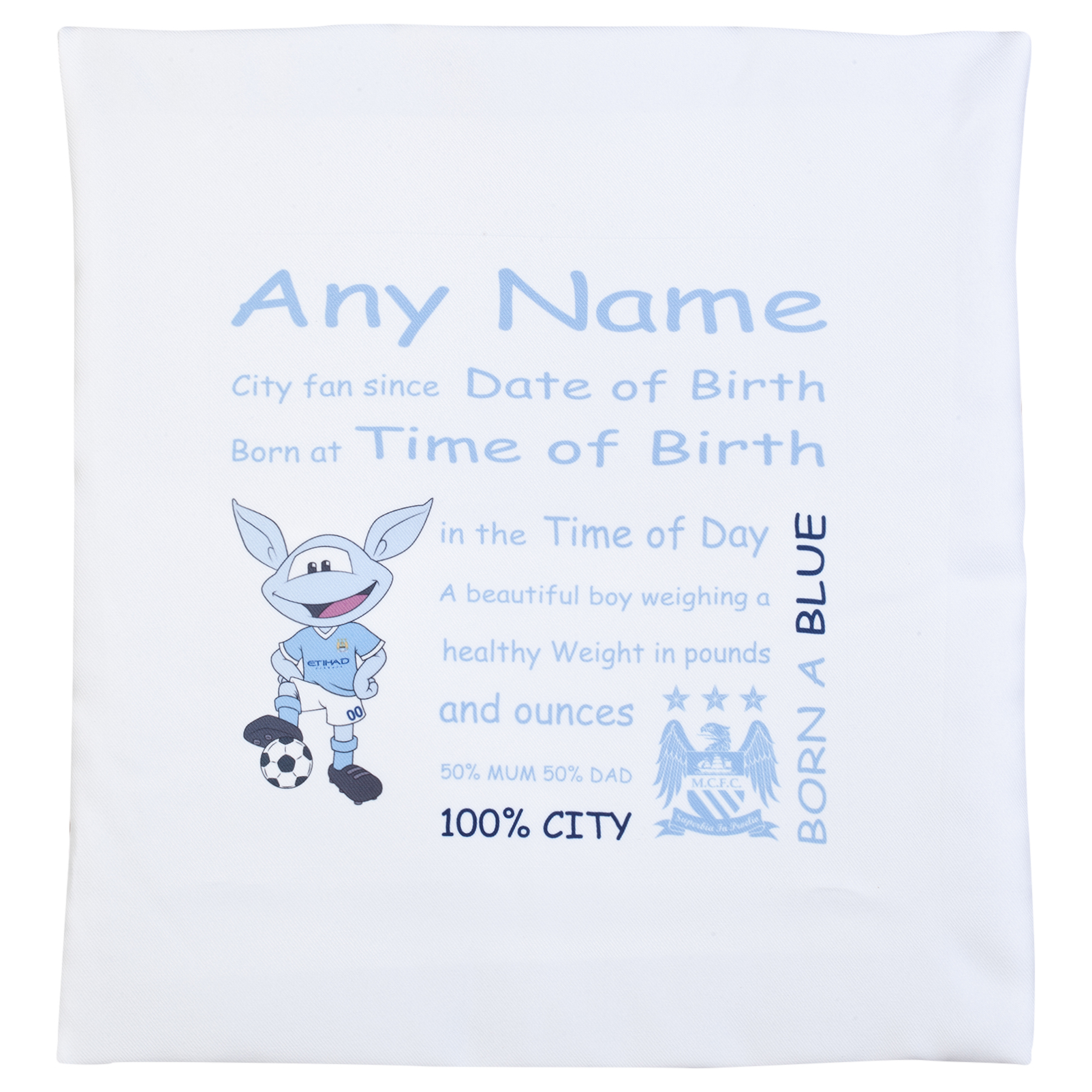 Manchester City Personalised Moonchester City Fan Since Cushion Cover 400 X 400 mm