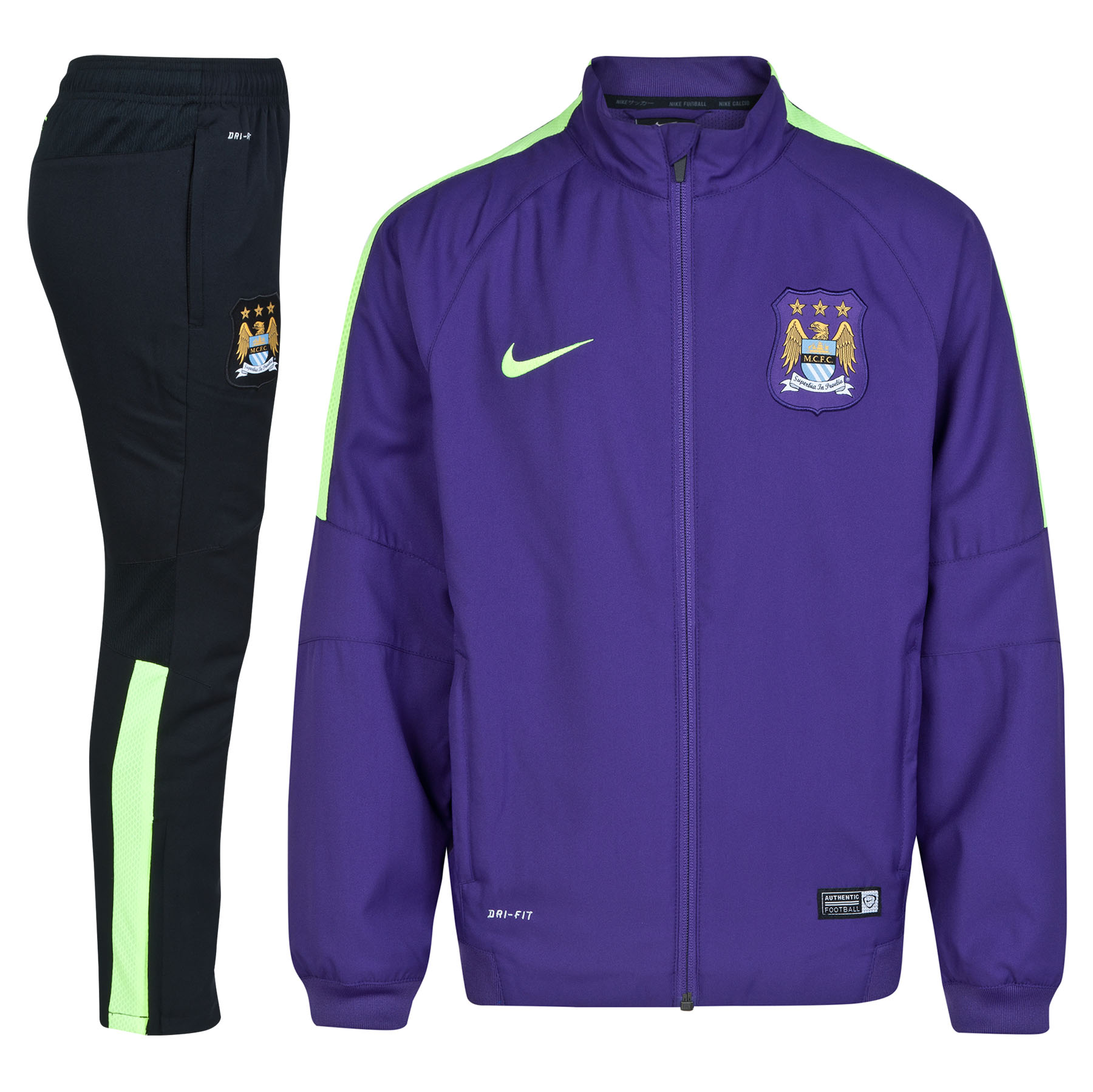 Manchester City Squad Sideline Woven Warm Up Tracksuit - Kids Purple