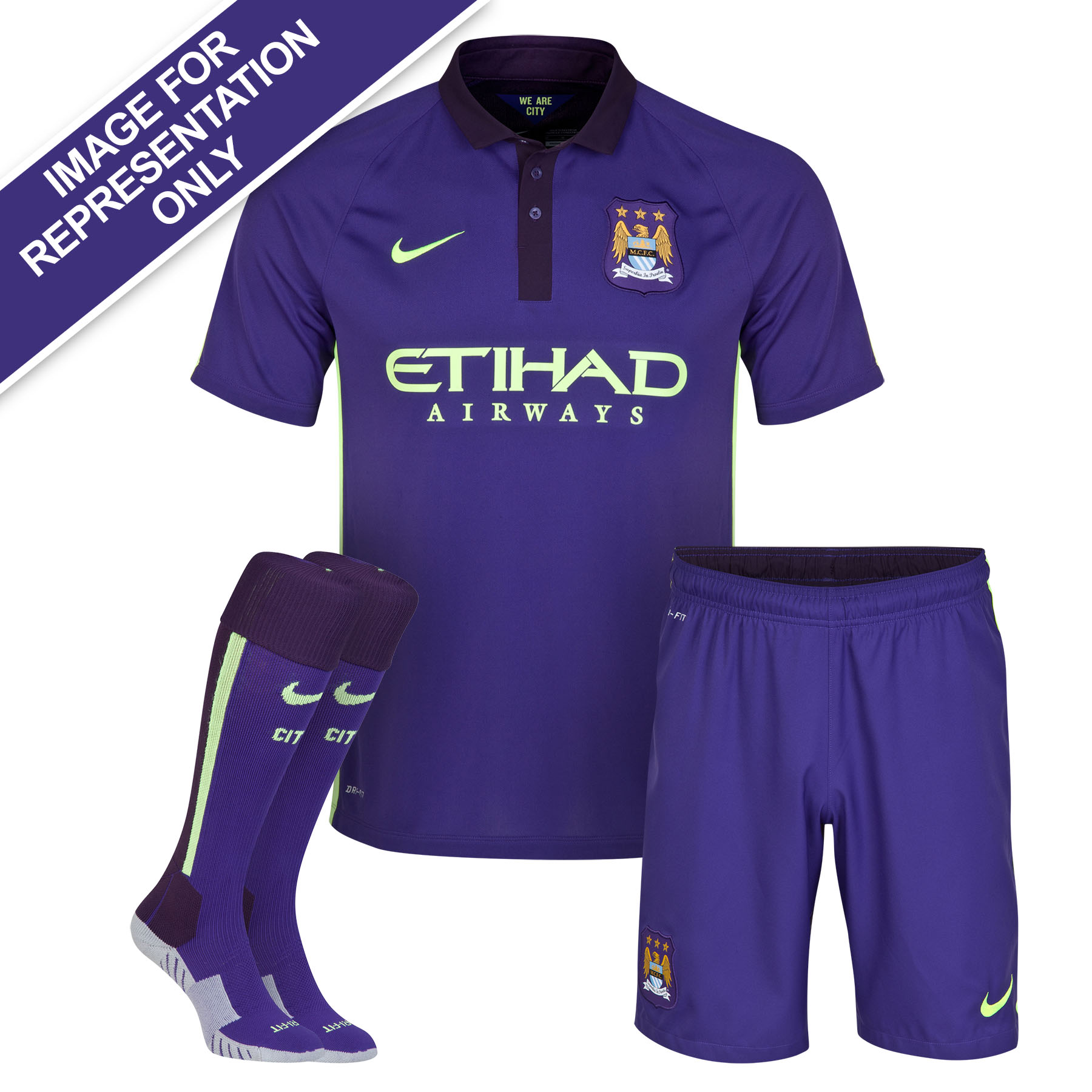 Manchester City Cup Away Kit 2014/15 - Little Boys Purple