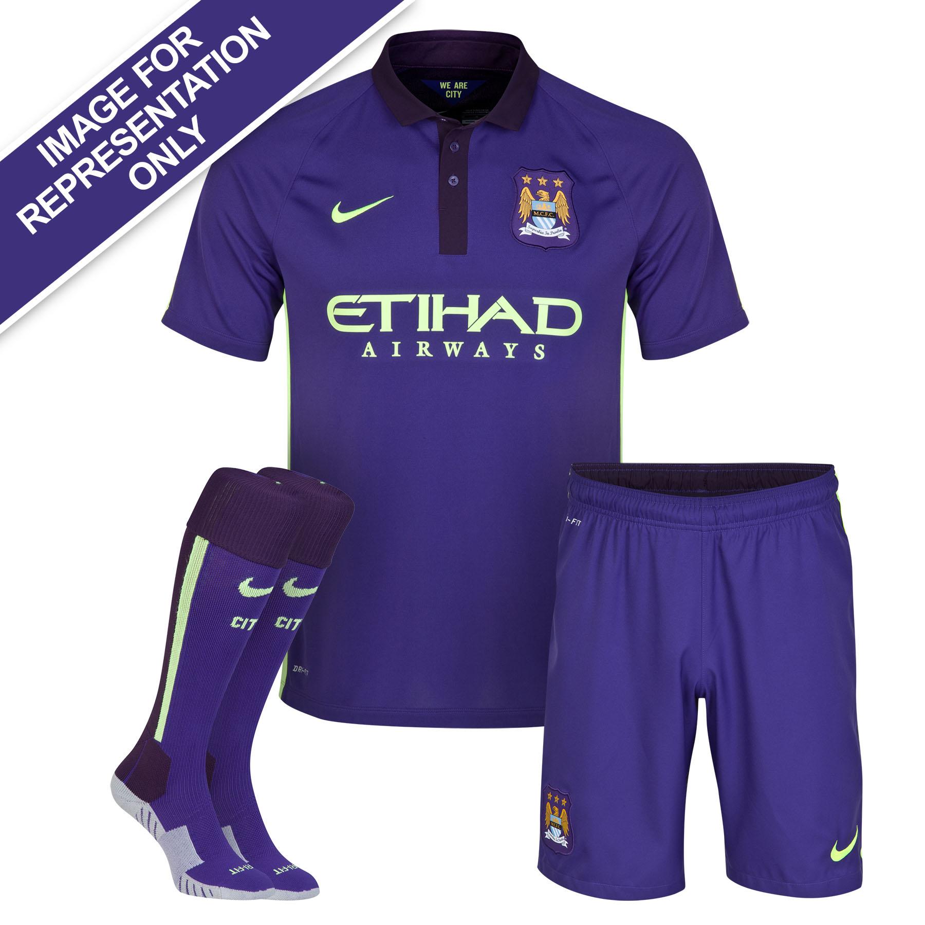 Manchester City Cup Away Kit 2014/15 - Little Boys Purple