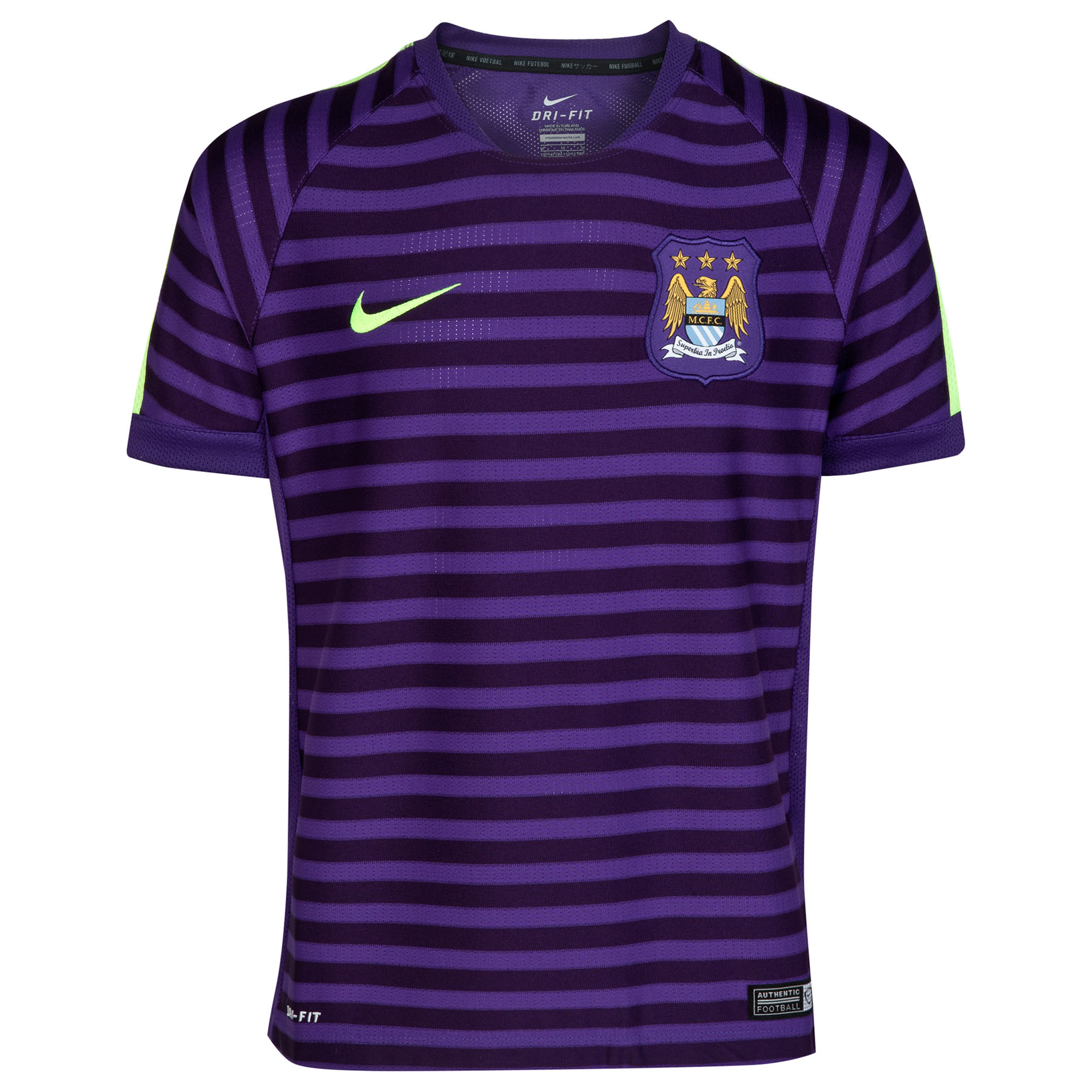 Manchester City Squad Short Sleeve Training Top - Kids Purple